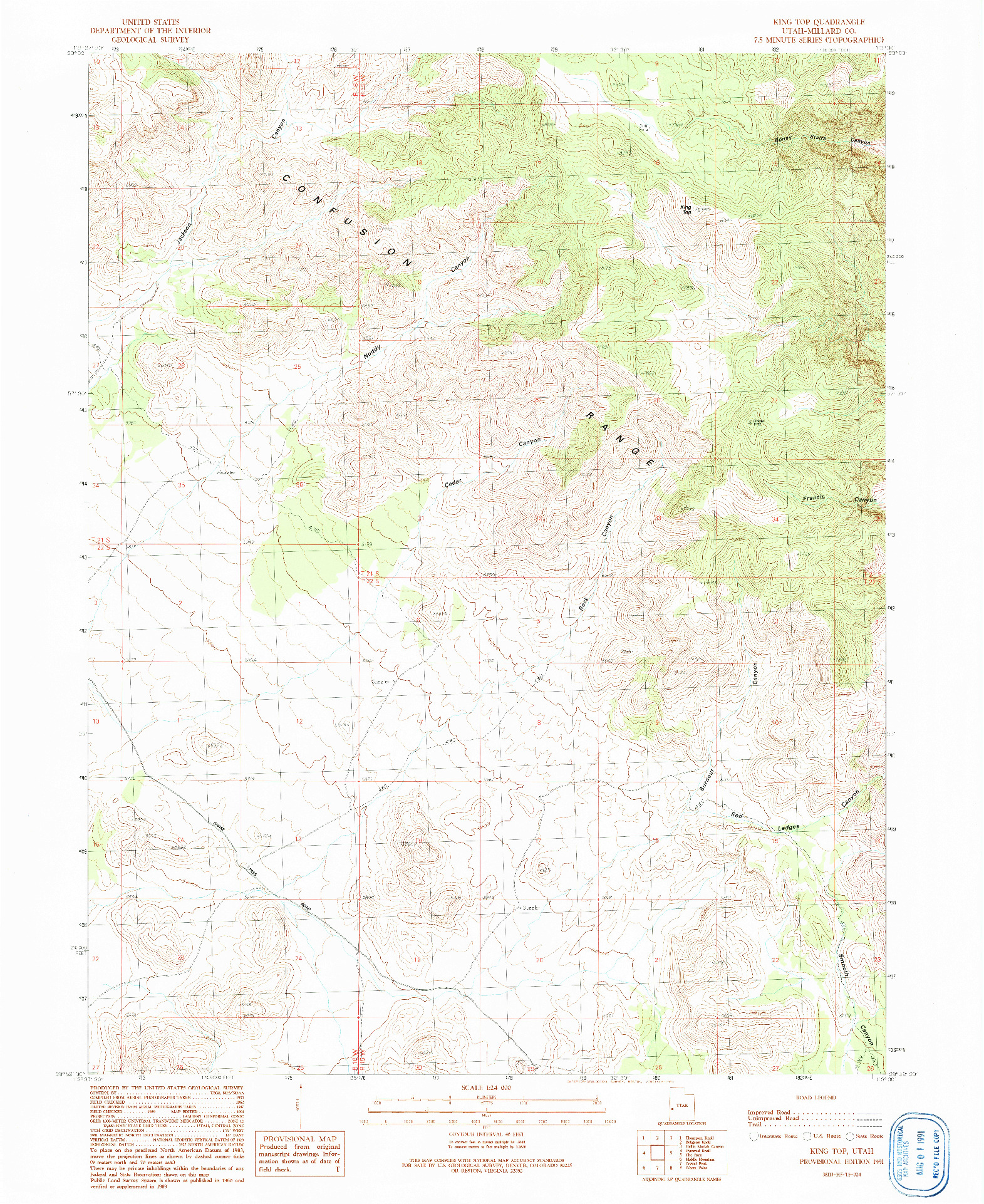 USGS 1:24000-SCALE QUADRANGLE FOR KING TOP, UT 1991
