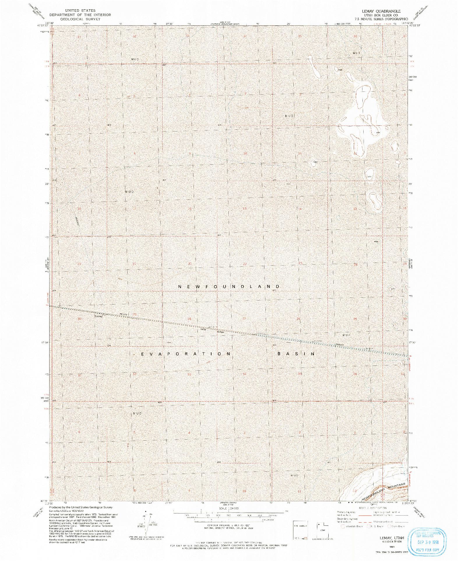 USGS 1:24000-SCALE QUADRANGLE FOR LEMAY, UT 1991