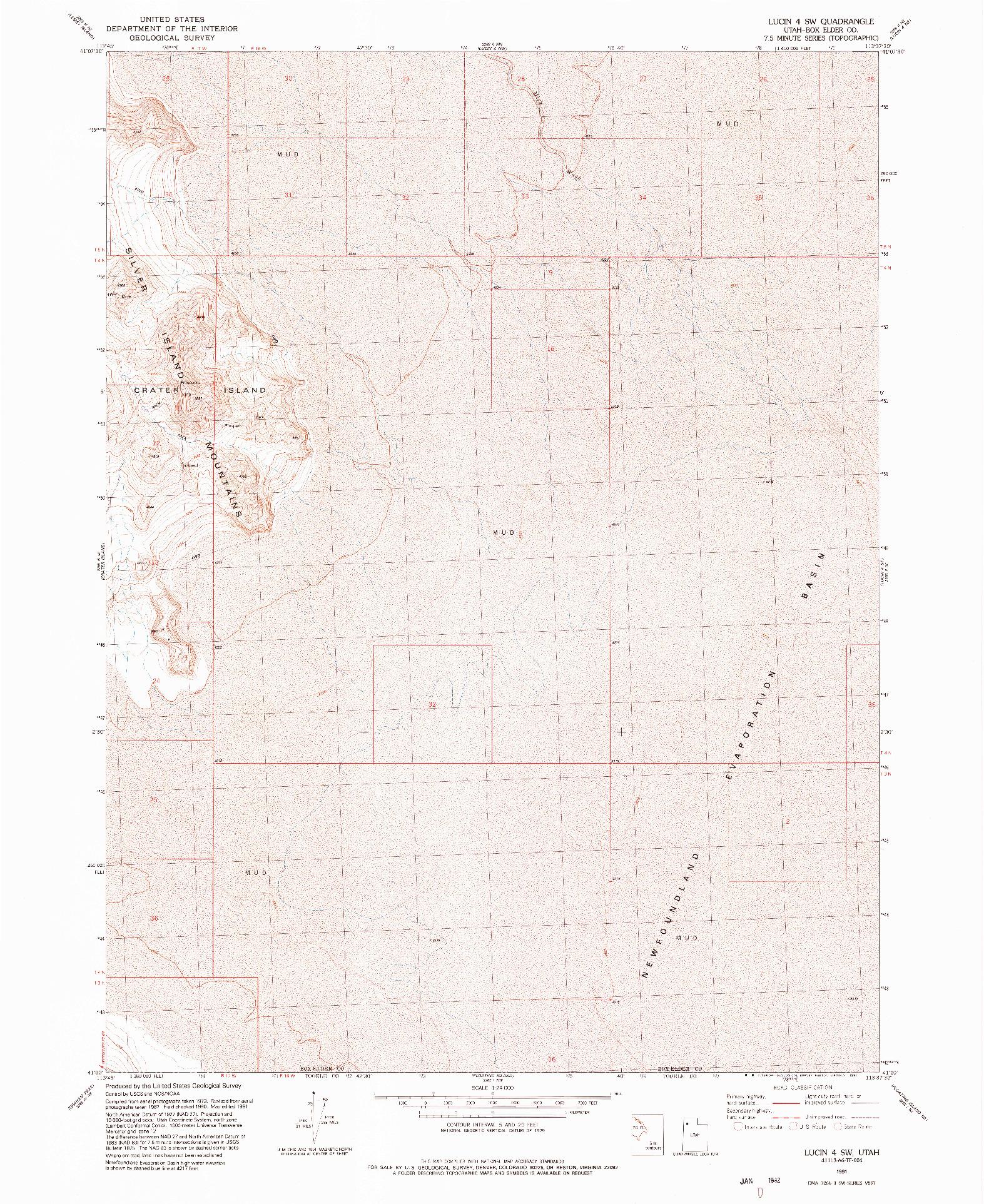 USGS 1:24000-SCALE QUADRANGLE FOR LUCIN 4 SW, UT 1991