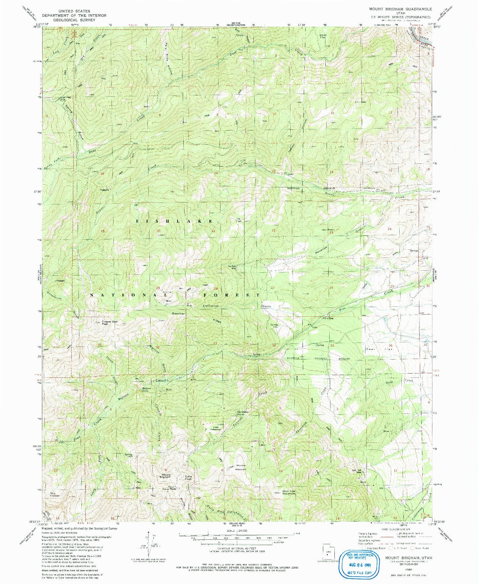 USGS 1:24000-SCALE QUADRANGLE FOR MOUNT BRIGHAM, UT 1980