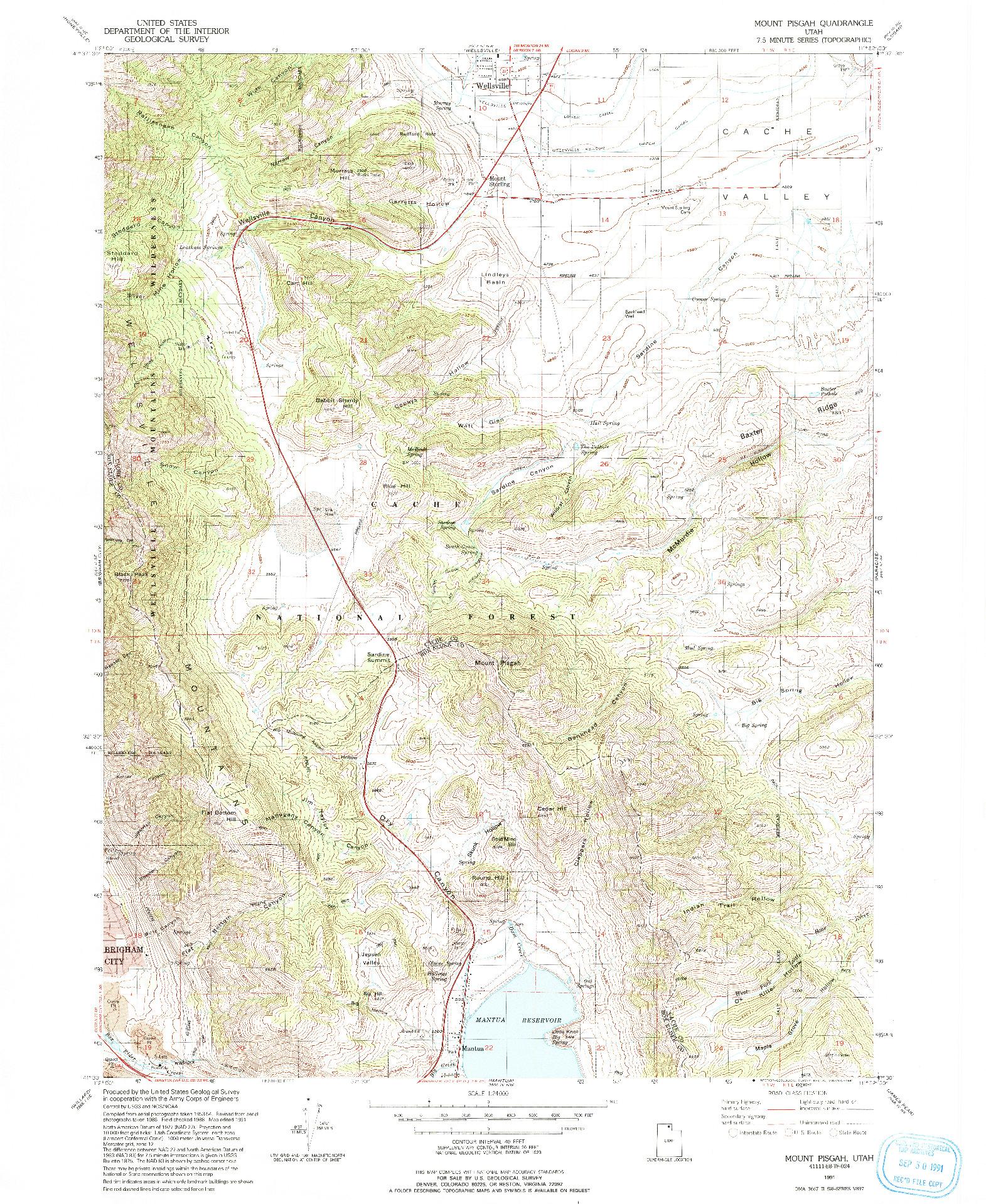 USGS 1:24000-SCALE QUADRANGLE FOR MOUNT PISGAH, UT 1991
