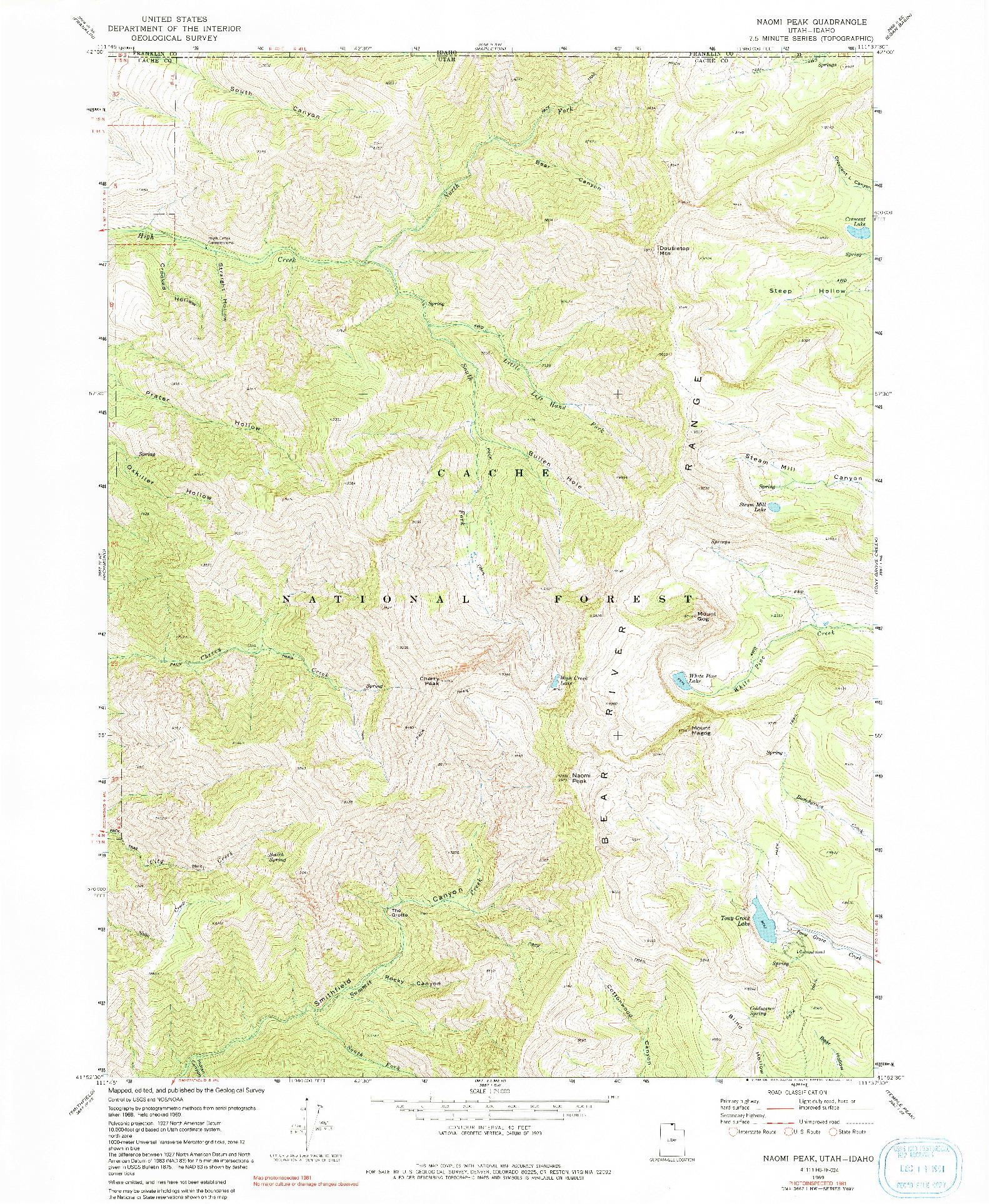 USGS 1:24000-SCALE QUADRANGLE FOR NAOMI PEAK, UT 1969