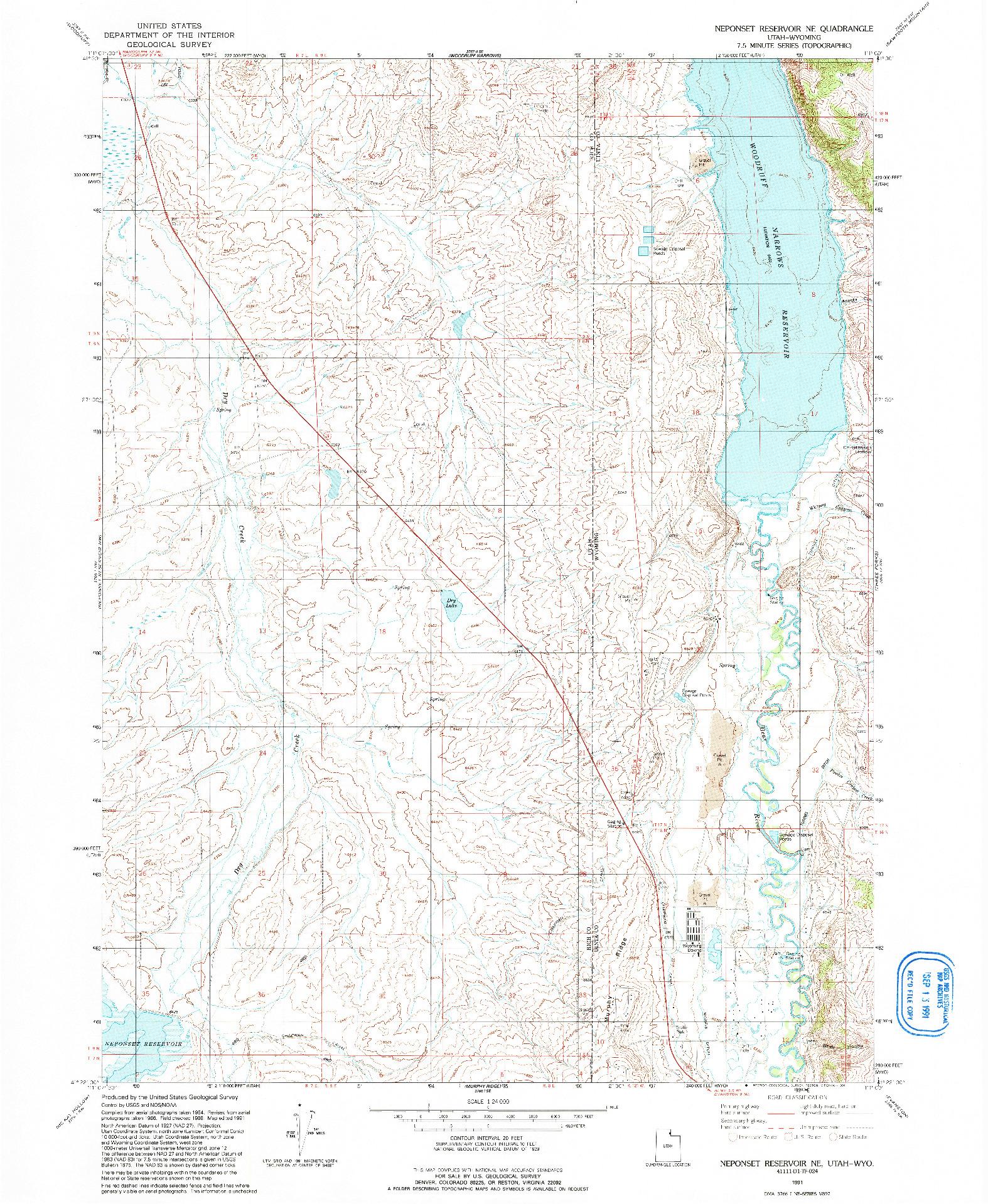 USGS 1:24000-SCALE QUADRANGLE FOR NEPONSET RESERVOIR NE, UT 1991