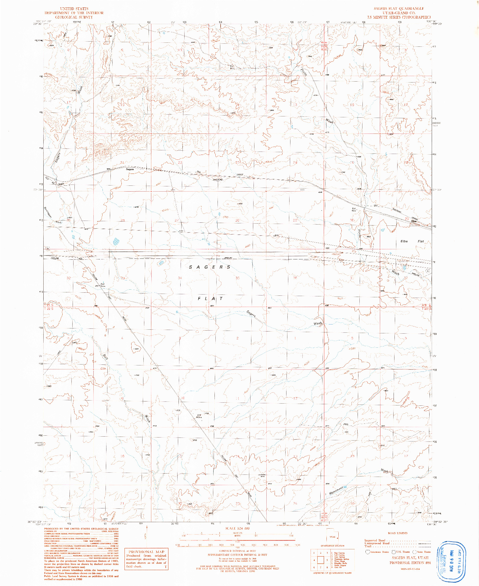 USGS 1:24000-SCALE QUADRANGLE FOR SAGERS FLAT, UT 1991