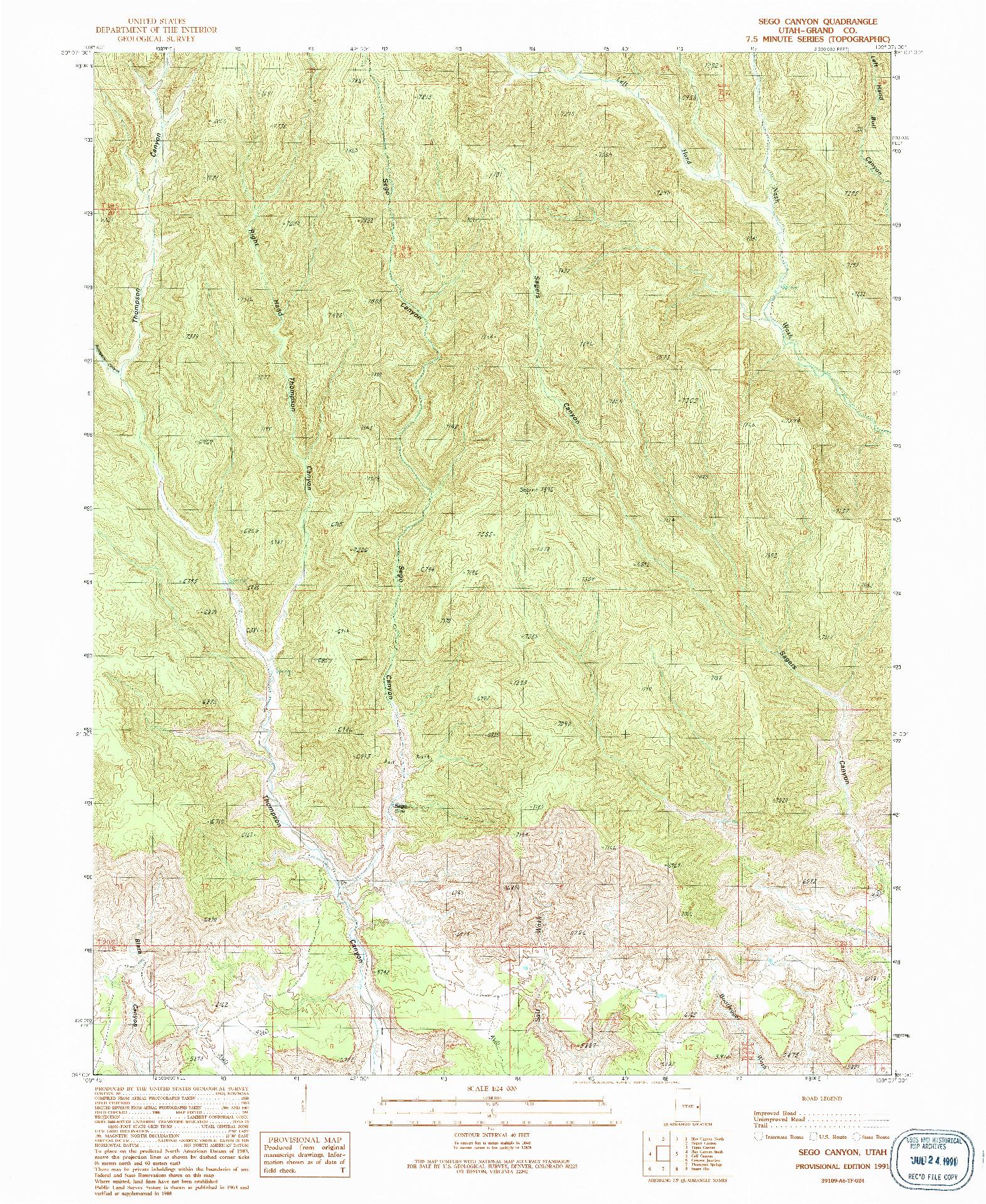 USGS 1:24000-SCALE QUADRANGLE FOR SEGO CANYON, UT 1991