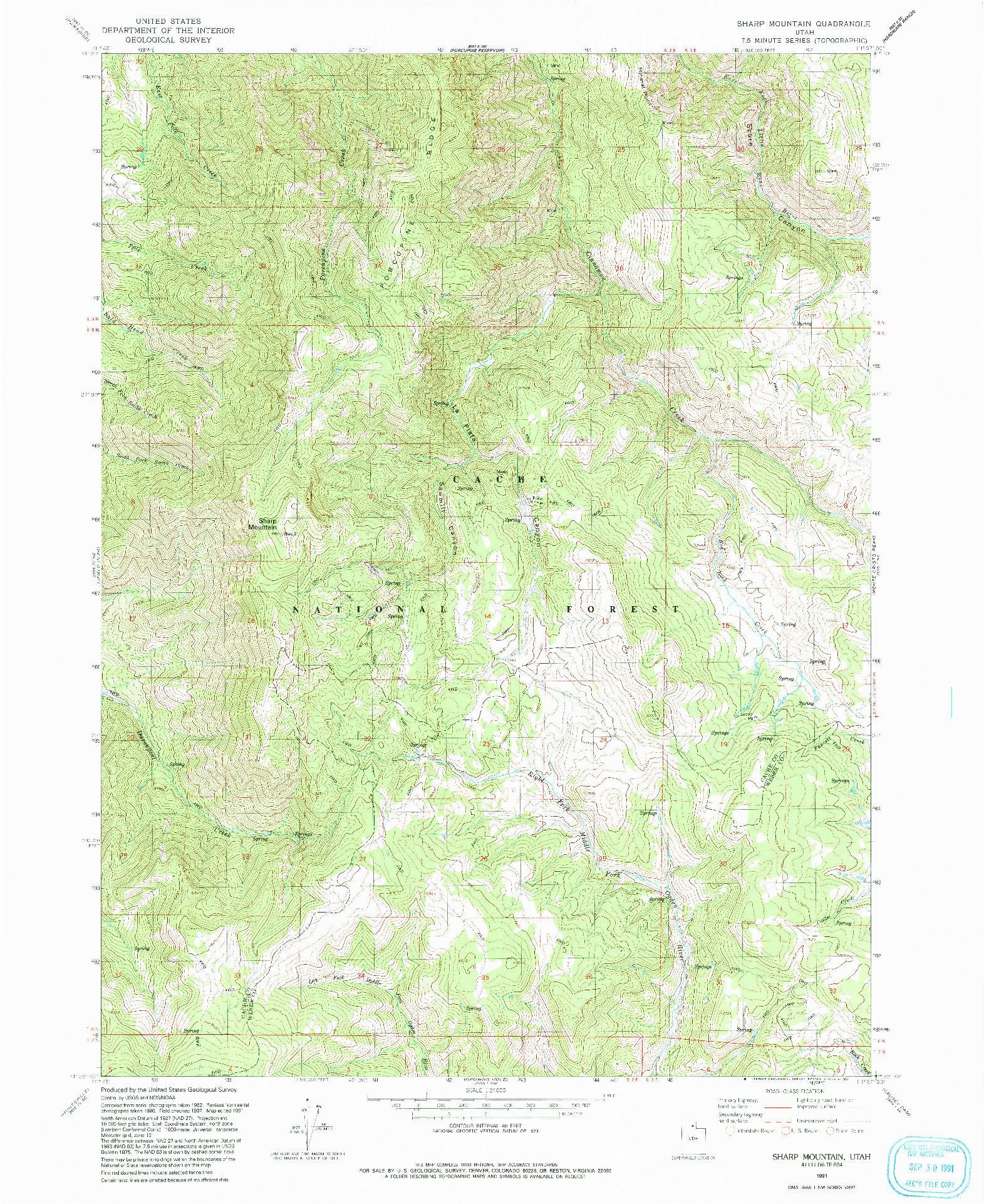USGS 1:24000-SCALE QUADRANGLE FOR SHARP MOUNTAIN, UT 1991