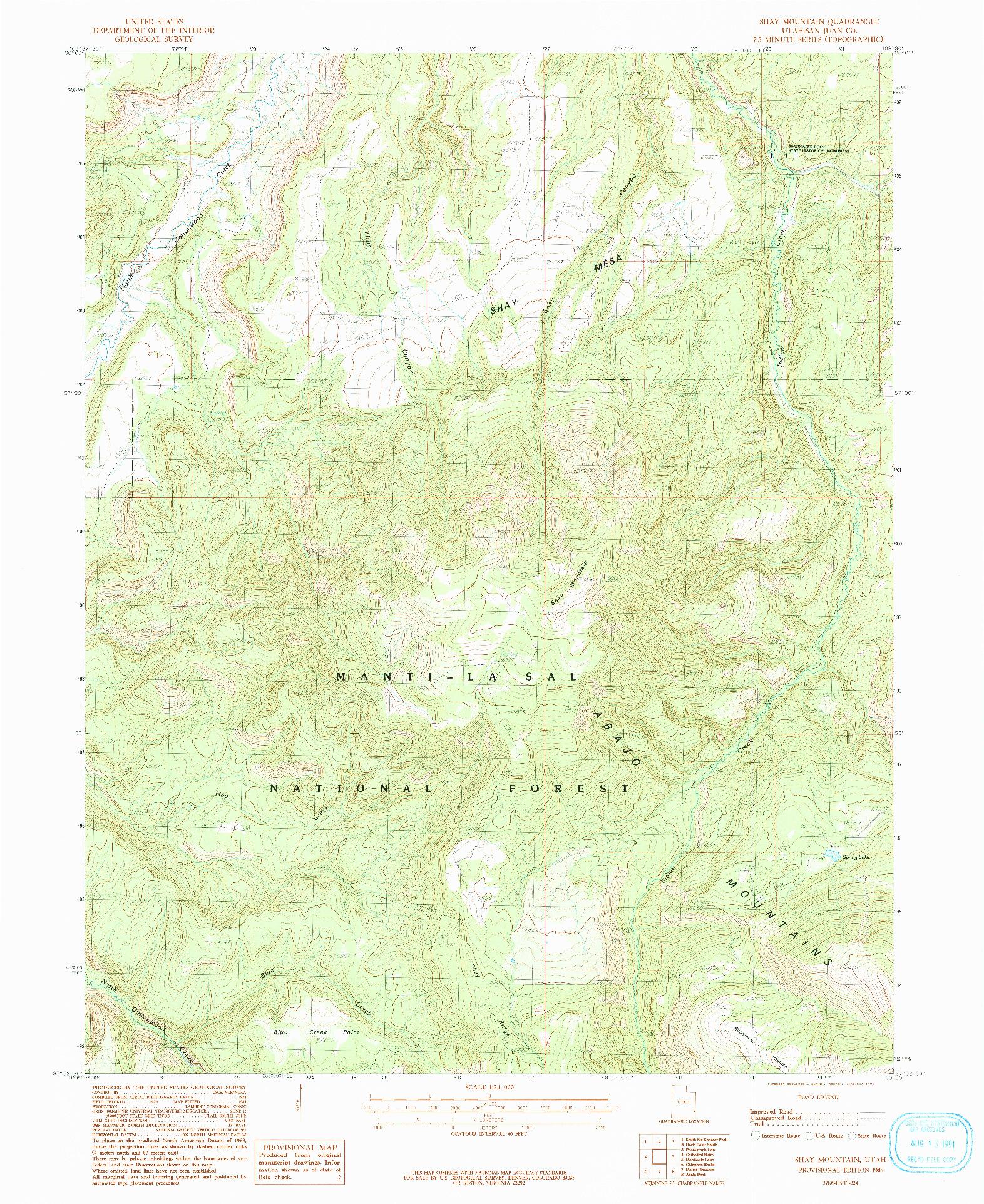 USGS 1:24000-SCALE QUADRANGLE FOR SHAY MOUNTAIN, UT 1985
