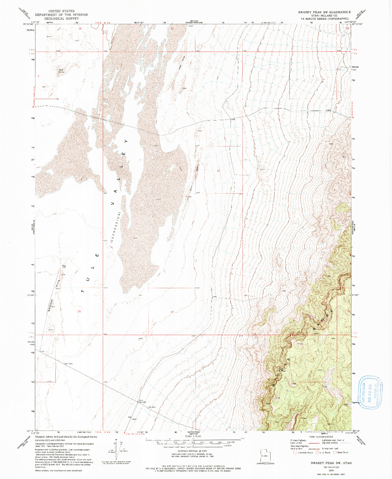 USGS 1:24000-SCALE QUADRANGLE FOR SWASEY PEAK SW, UT 1972