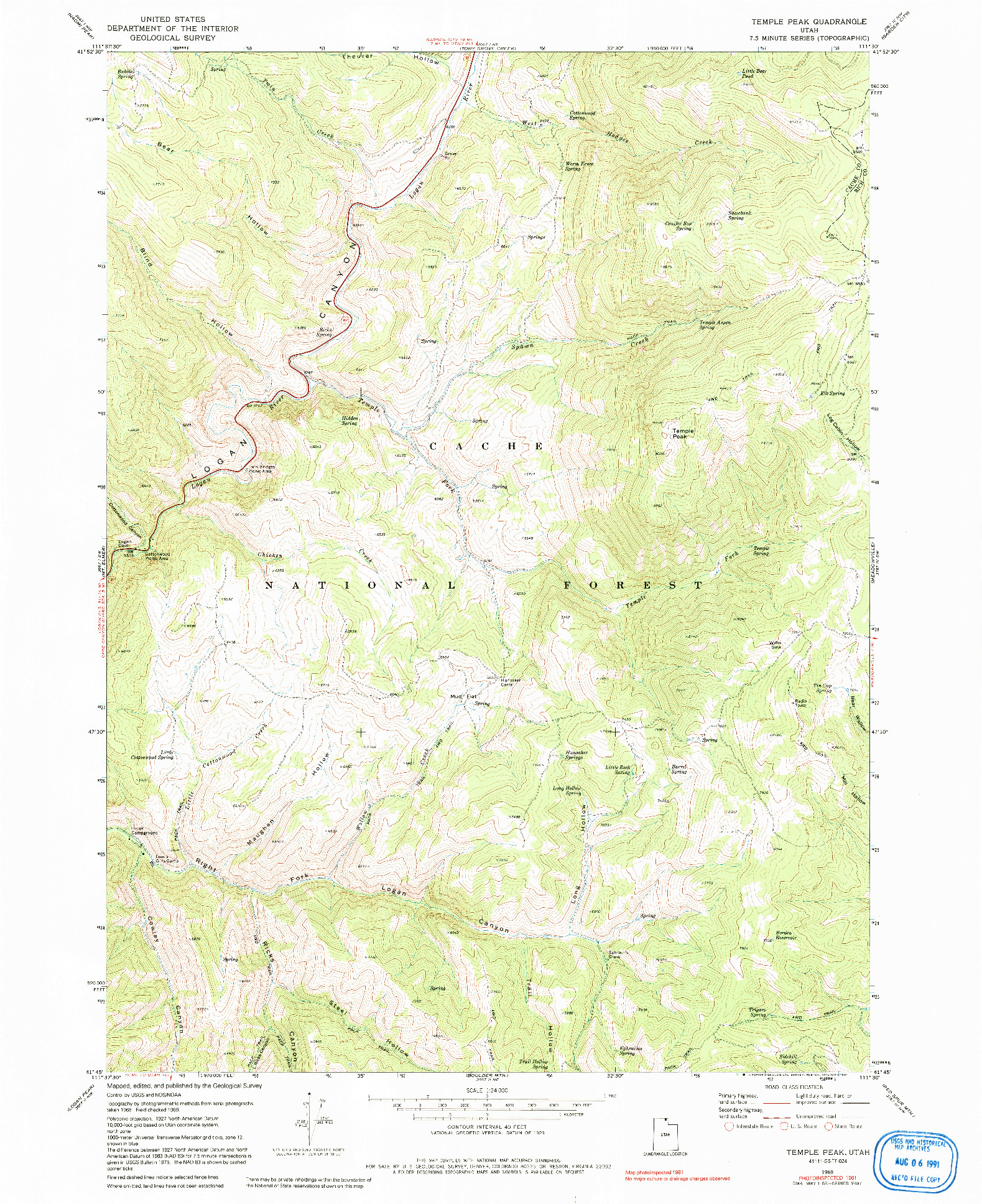 USGS 1:24000-SCALE QUADRANGLE FOR TEMPLE PEAK, UT 1969