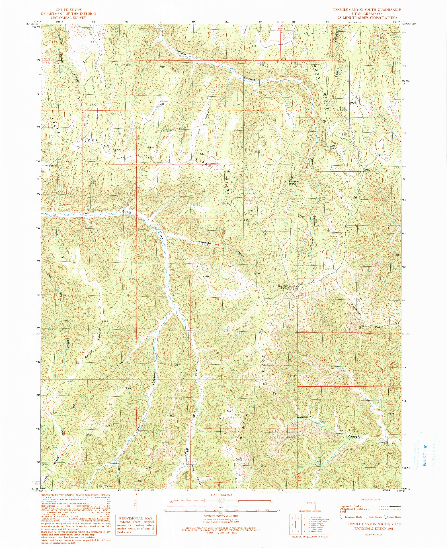 USGS 1:24000-SCALE QUADRANGLE FOR TENMILE CANYON SOUTH, UT 1991