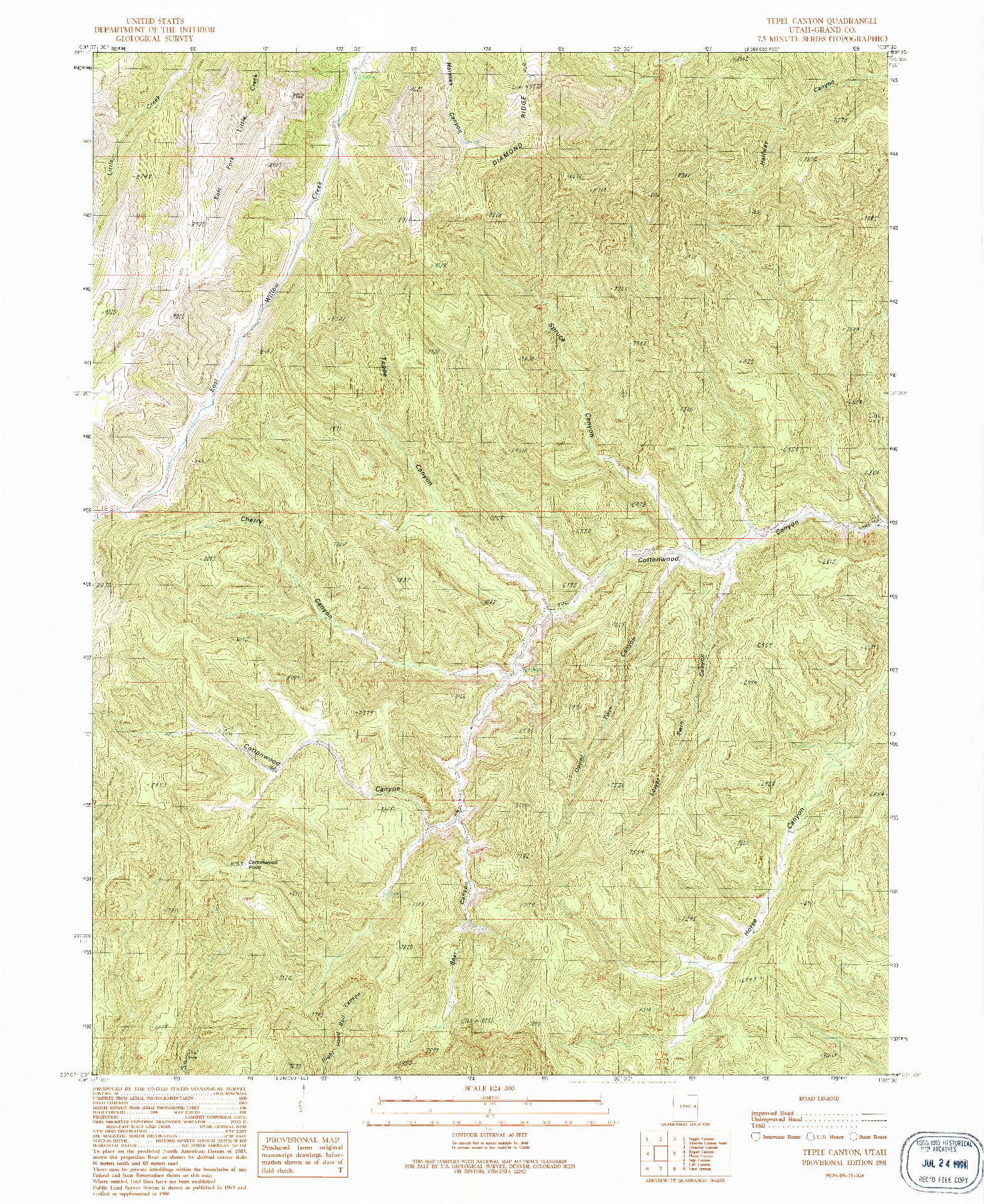 USGS 1:24000-SCALE QUADRANGLE FOR TEPEE CANYON, UT 1991
