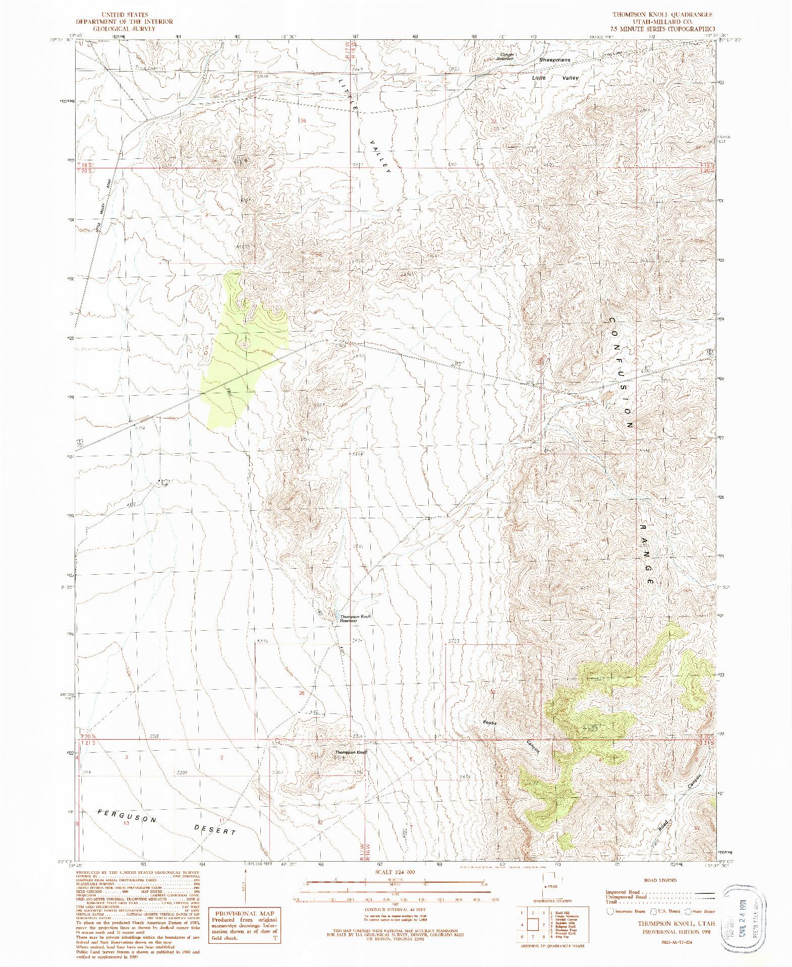 USGS 1:24000-SCALE QUADRANGLE FOR THOMPSON KNOLL, UT 1991