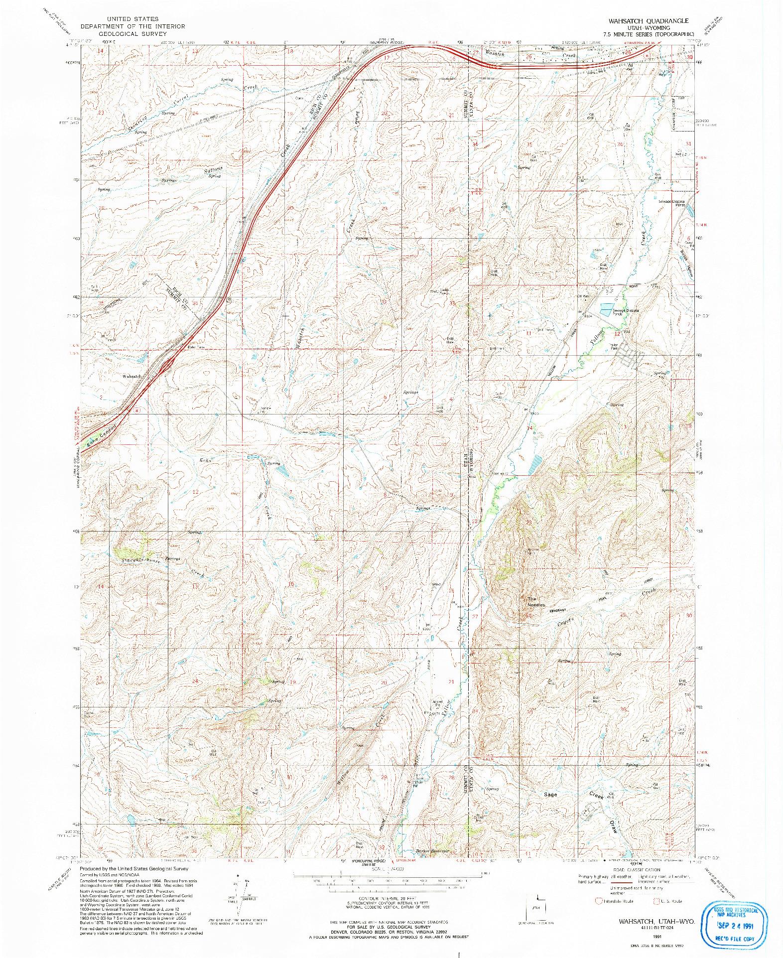 USGS 1:24000-SCALE QUADRANGLE FOR WAHSATCH, UT 1991