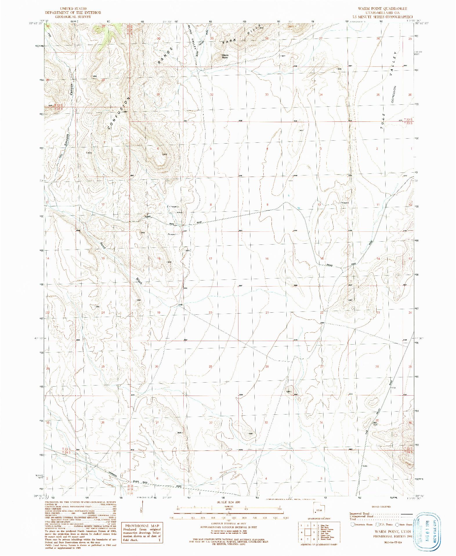 USGS 1:24000-SCALE QUADRANGLE FOR WARM POINT, UT 1991