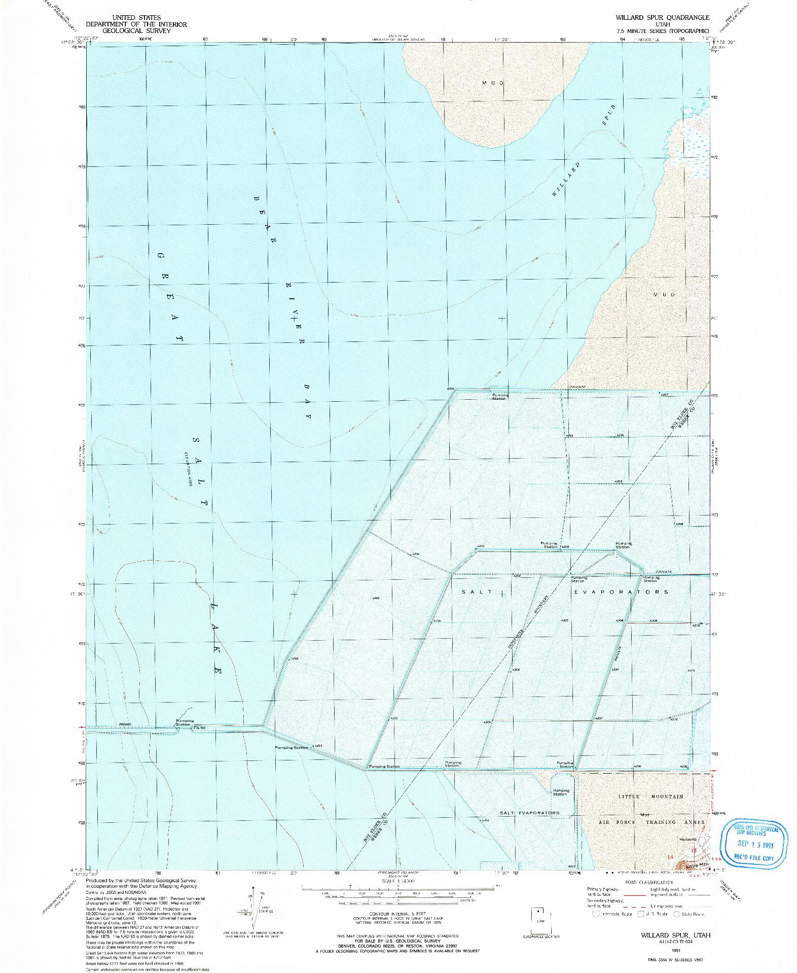 USGS 1:24000-SCALE QUADRANGLE FOR WILLARD SPUR, UT 1991