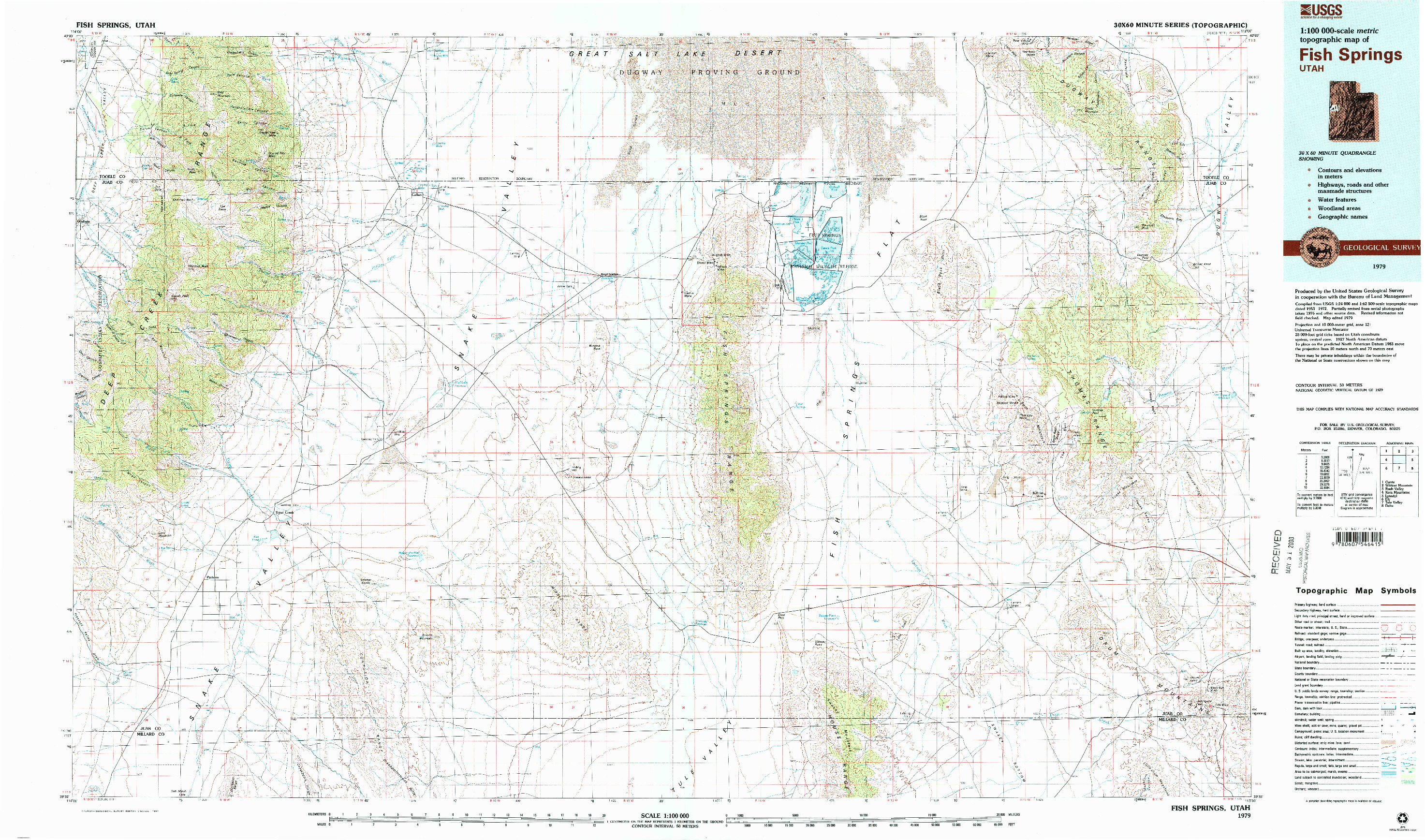 USGS 1:100000-SCALE QUADRANGLE FOR FISH SPRINGS, UT 1979