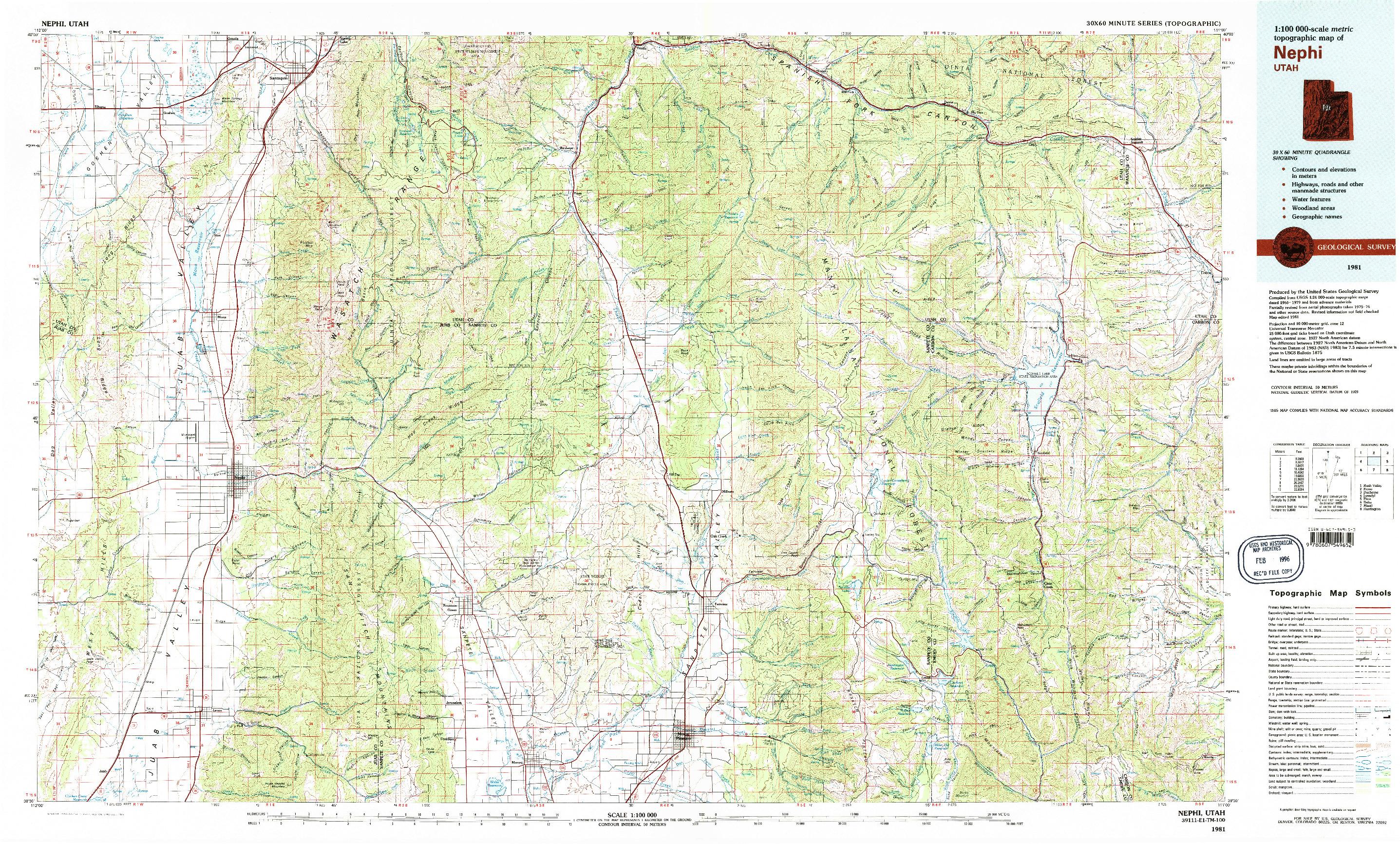 USGS 1:100000-SCALE QUADRANGLE FOR NEPHI, UT 1981