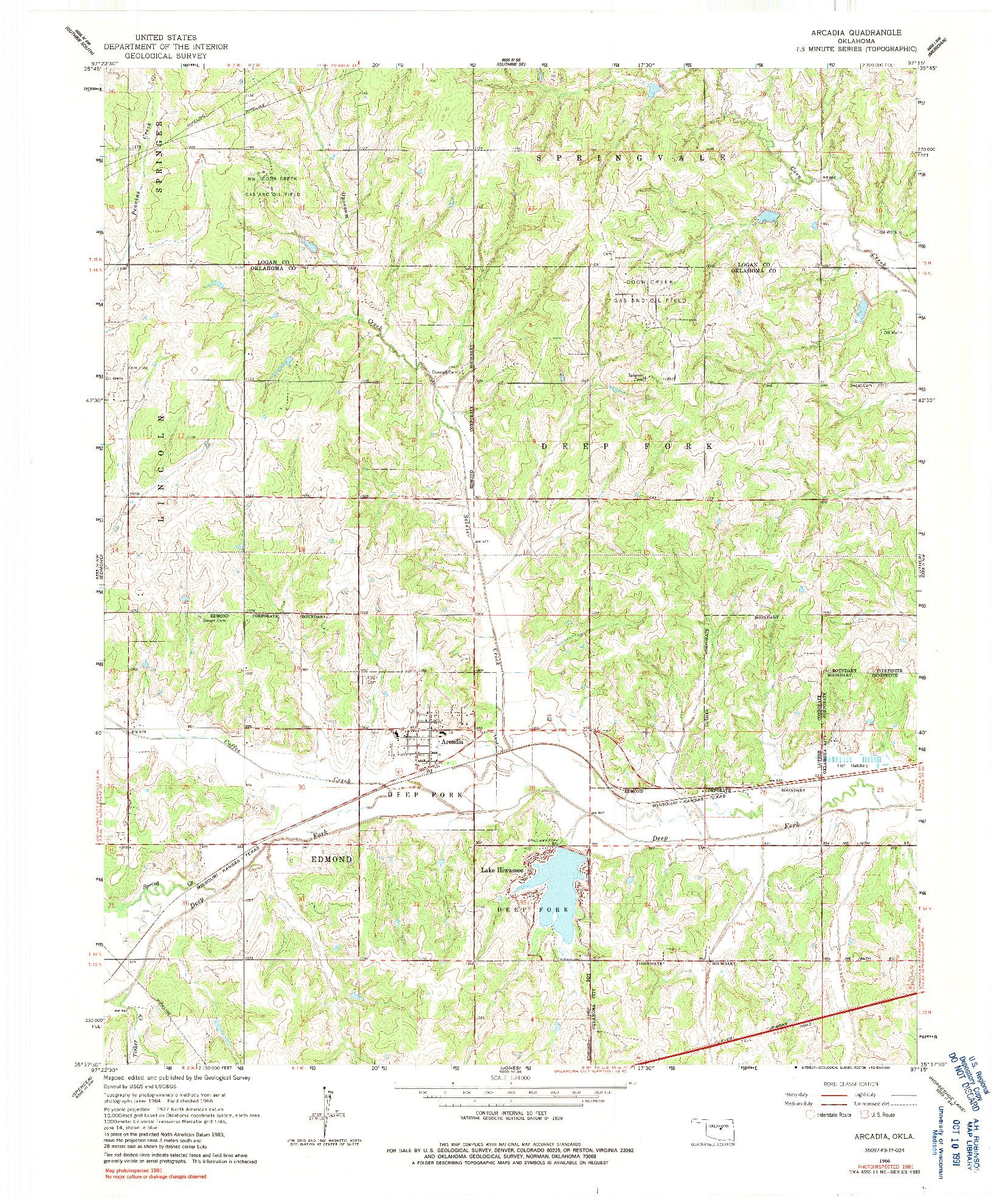 USGS 1:24000-SCALE QUADRANGLE FOR ARCADIA, OK 1966
