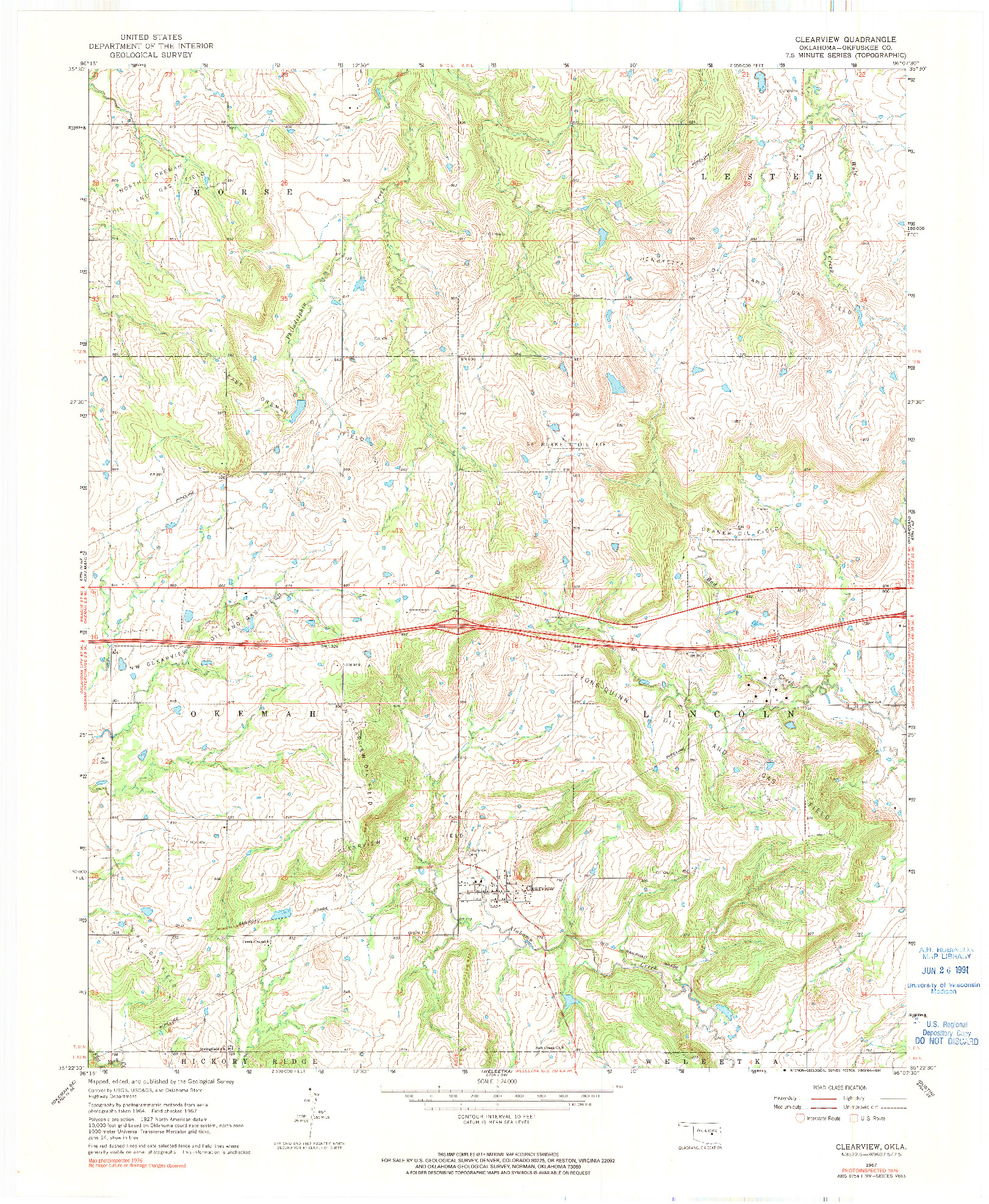 USGS 1:24000-SCALE QUADRANGLE FOR CLEARVIEW, OK 1967