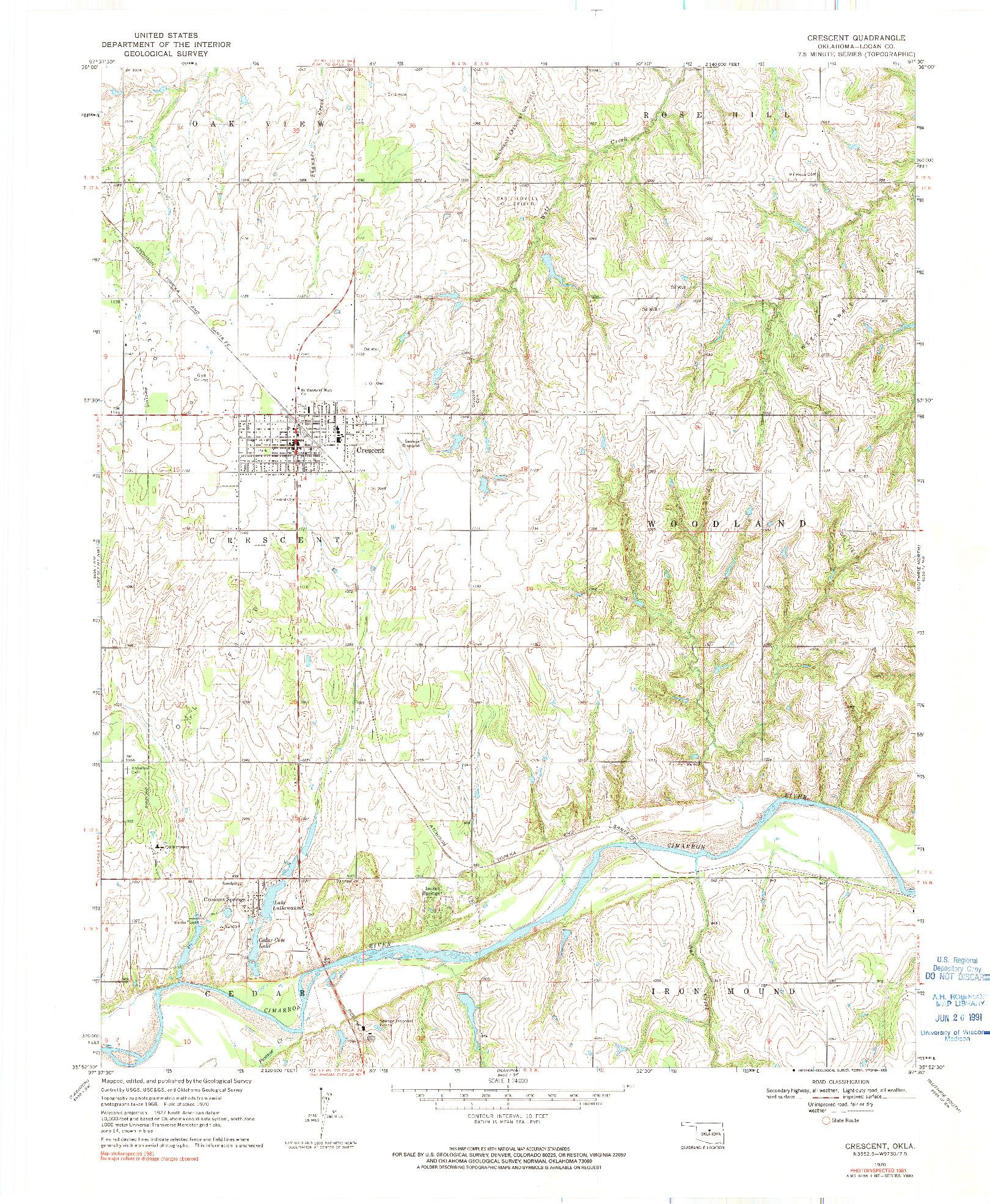 USGS 1:24000-SCALE QUADRANGLE FOR CRESCENT, OK 1970