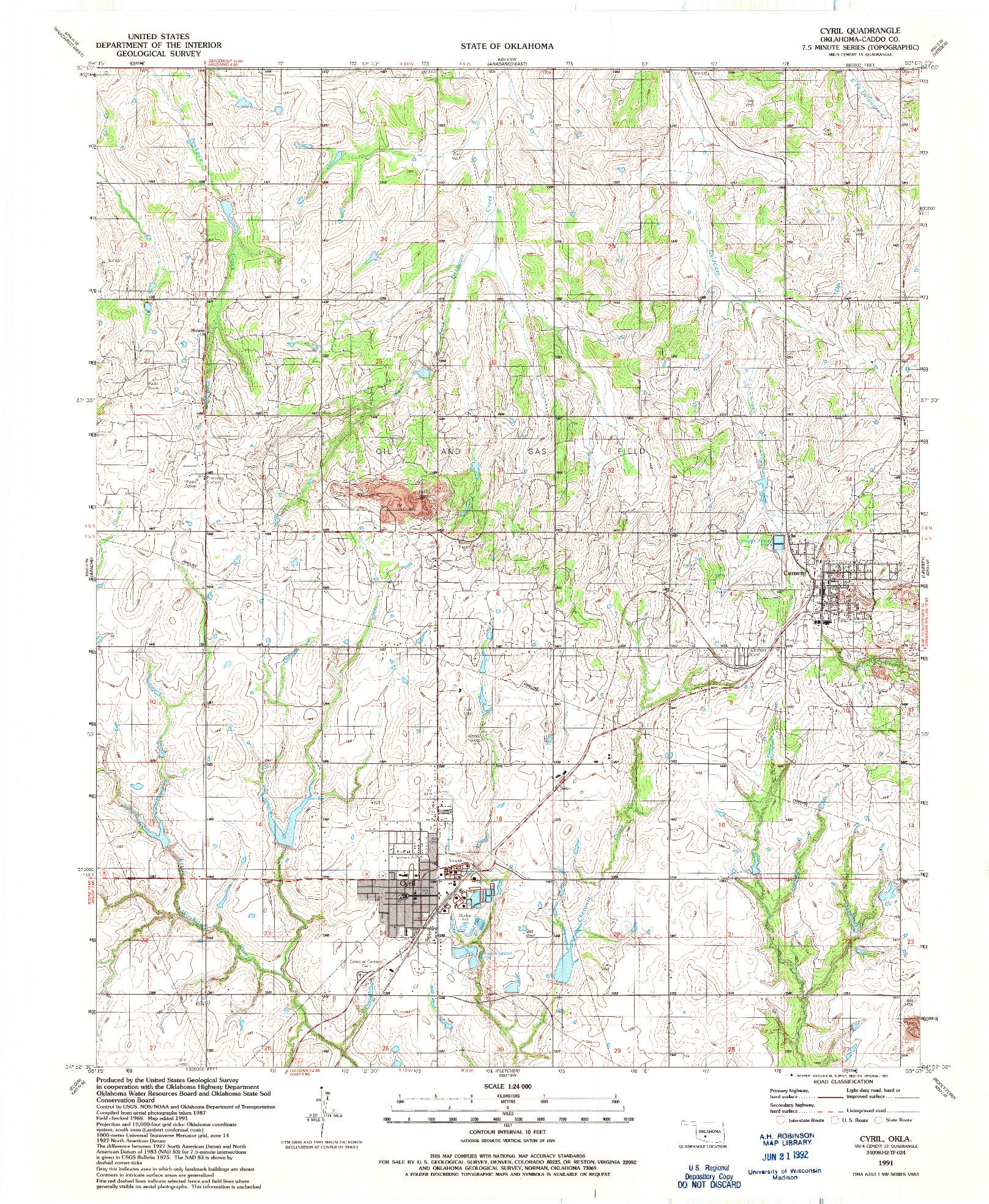 USGS 1:24000-SCALE QUADRANGLE FOR CYRIL, OK 1991