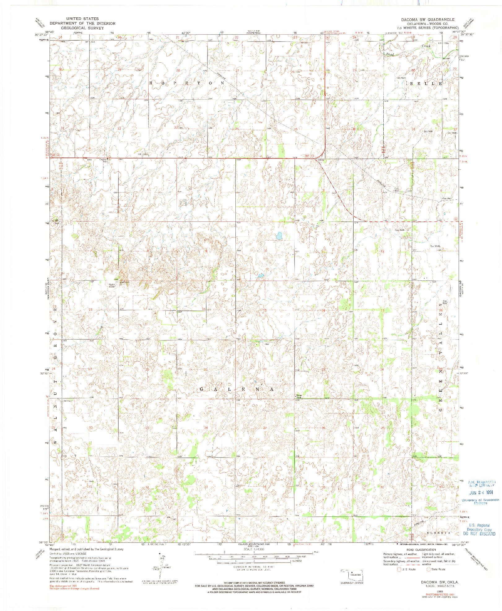 USGS 1:24000-SCALE QUADRANGLE FOR DACOMA SW, OK 1969