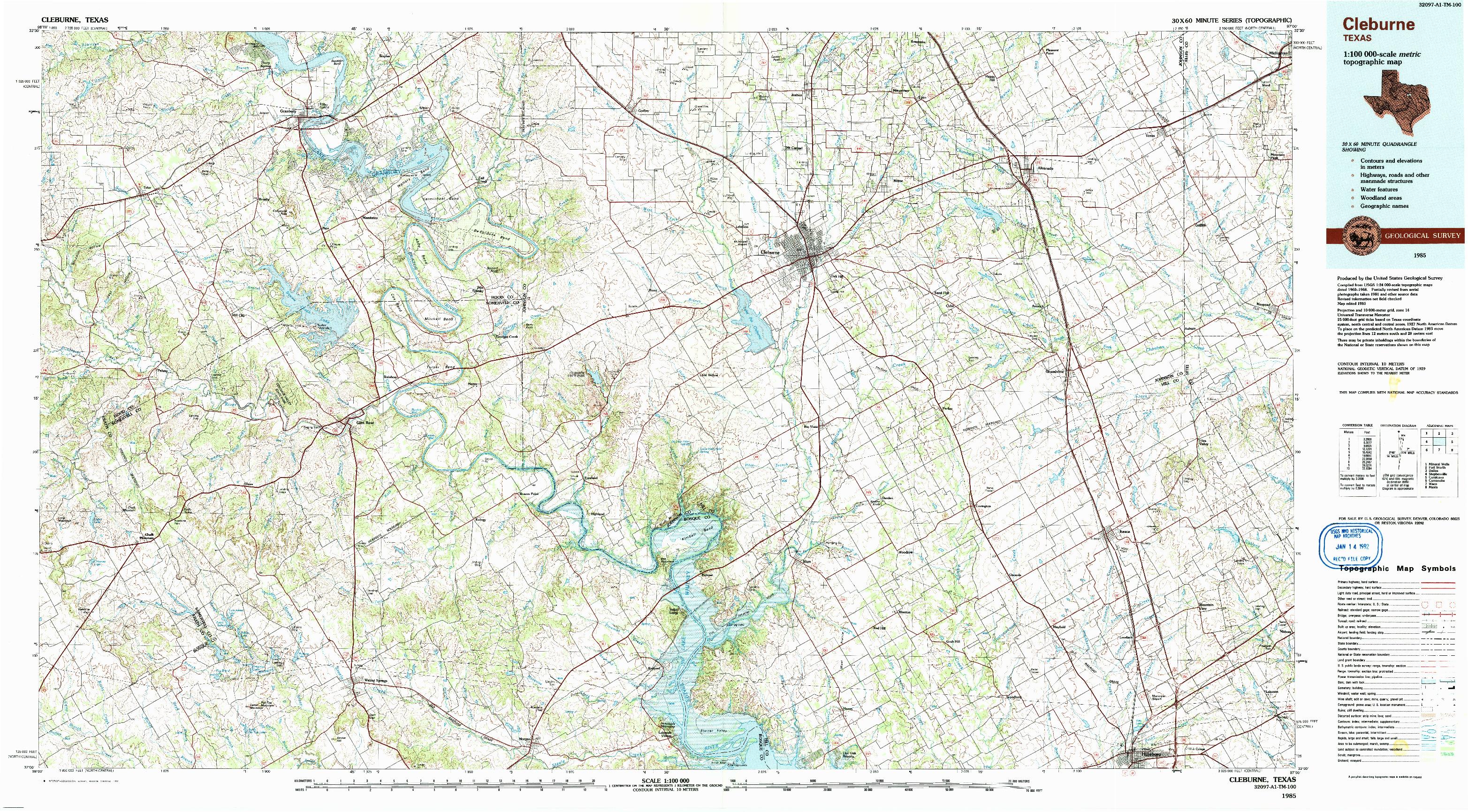 USGS 1:100000-SCALE QUADRANGLE FOR CLEBURNE, TX 1985