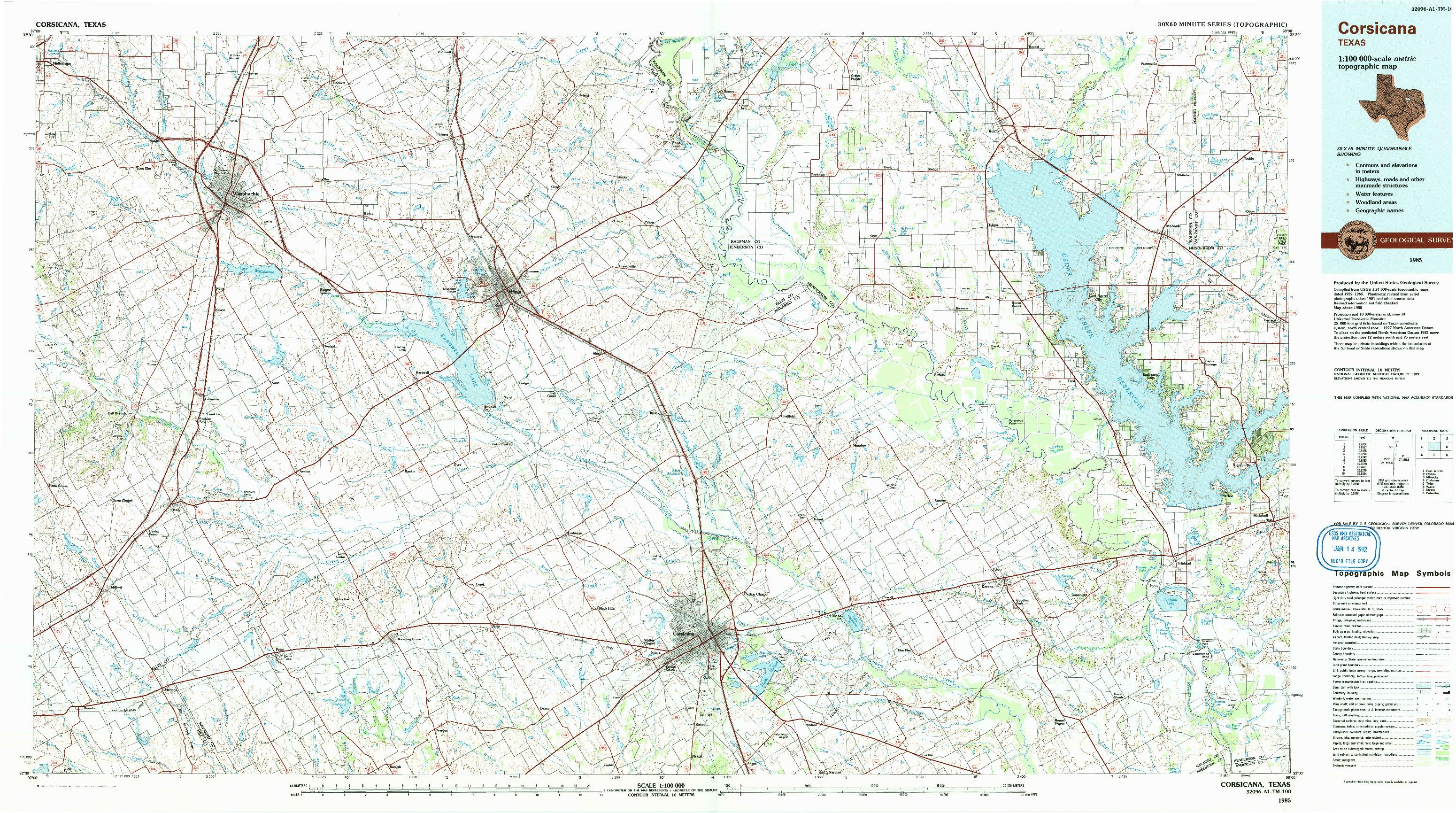 USGS 1:100000-SCALE QUADRANGLE FOR CORSICANA, TX 1985