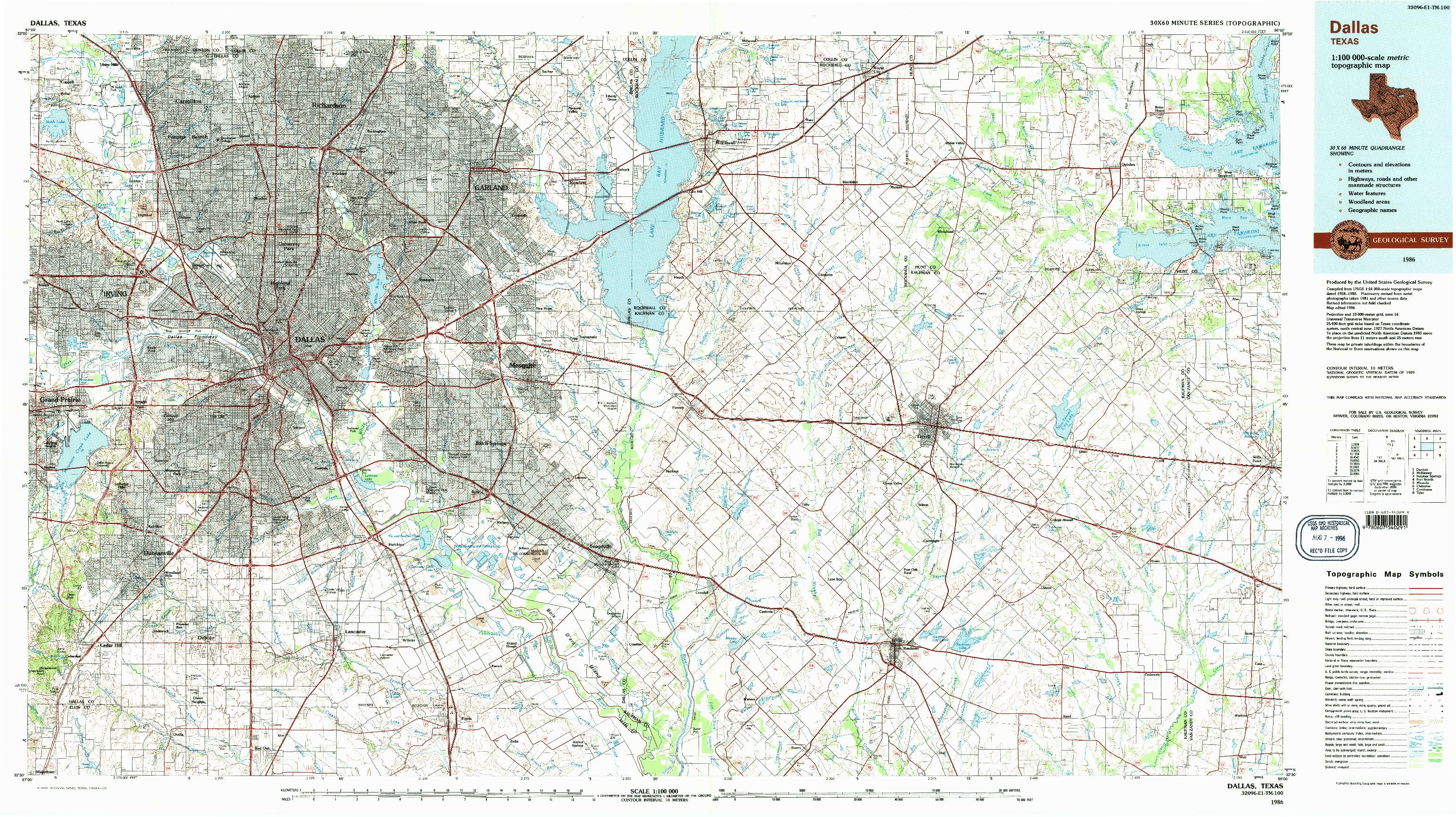 USGS 1:100000-SCALE QUADRANGLE FOR DALLAS, TX 1986