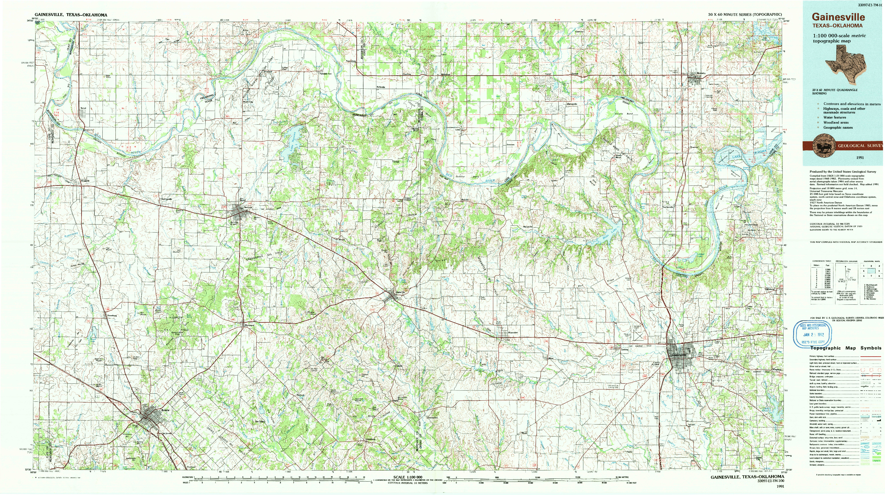USGS 1:100000-SCALE QUADRANGLE FOR GAINESVILLE, TX 1991