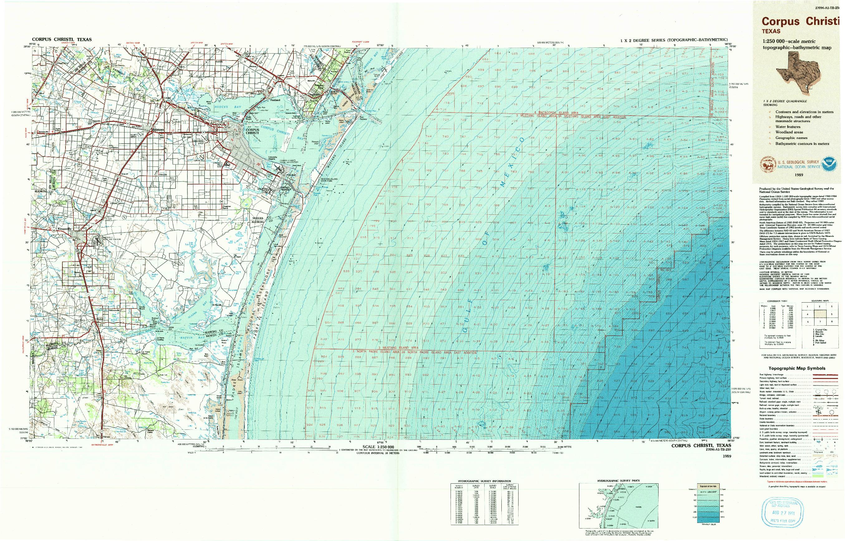 USGS 1:250000-SCALE QUADRANGLE FOR CORPUS CHRISTI, TX 1989