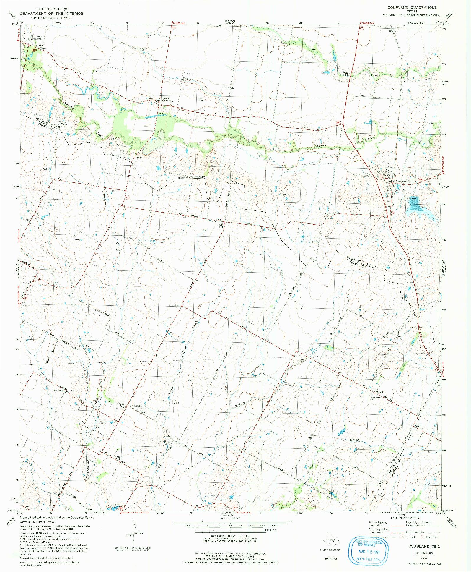 USGS 1:24000-SCALE QUADRANGLE FOR COUPLAND, TX 1982