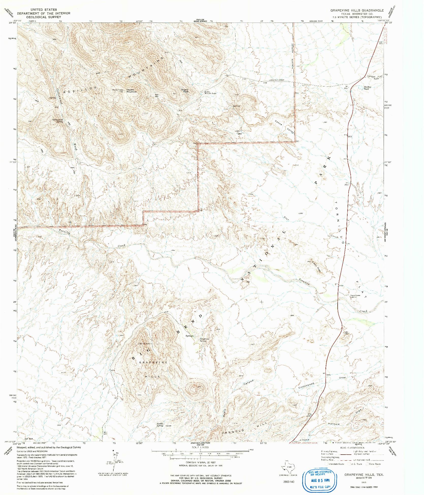 USGS 1:24000-SCALE QUADRANGLE FOR GRAPEVINE HILLS, TX 1971