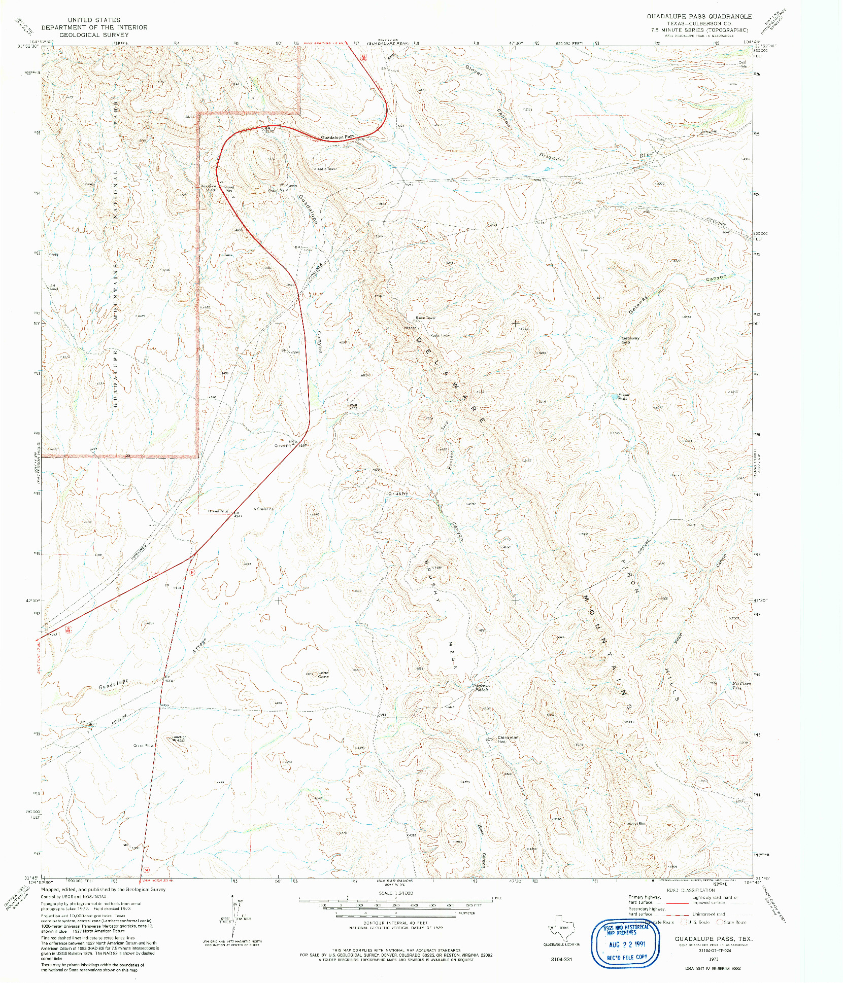 USGS 1:24000-SCALE QUADRANGLE FOR GUADALUPE PASS, TX 1973