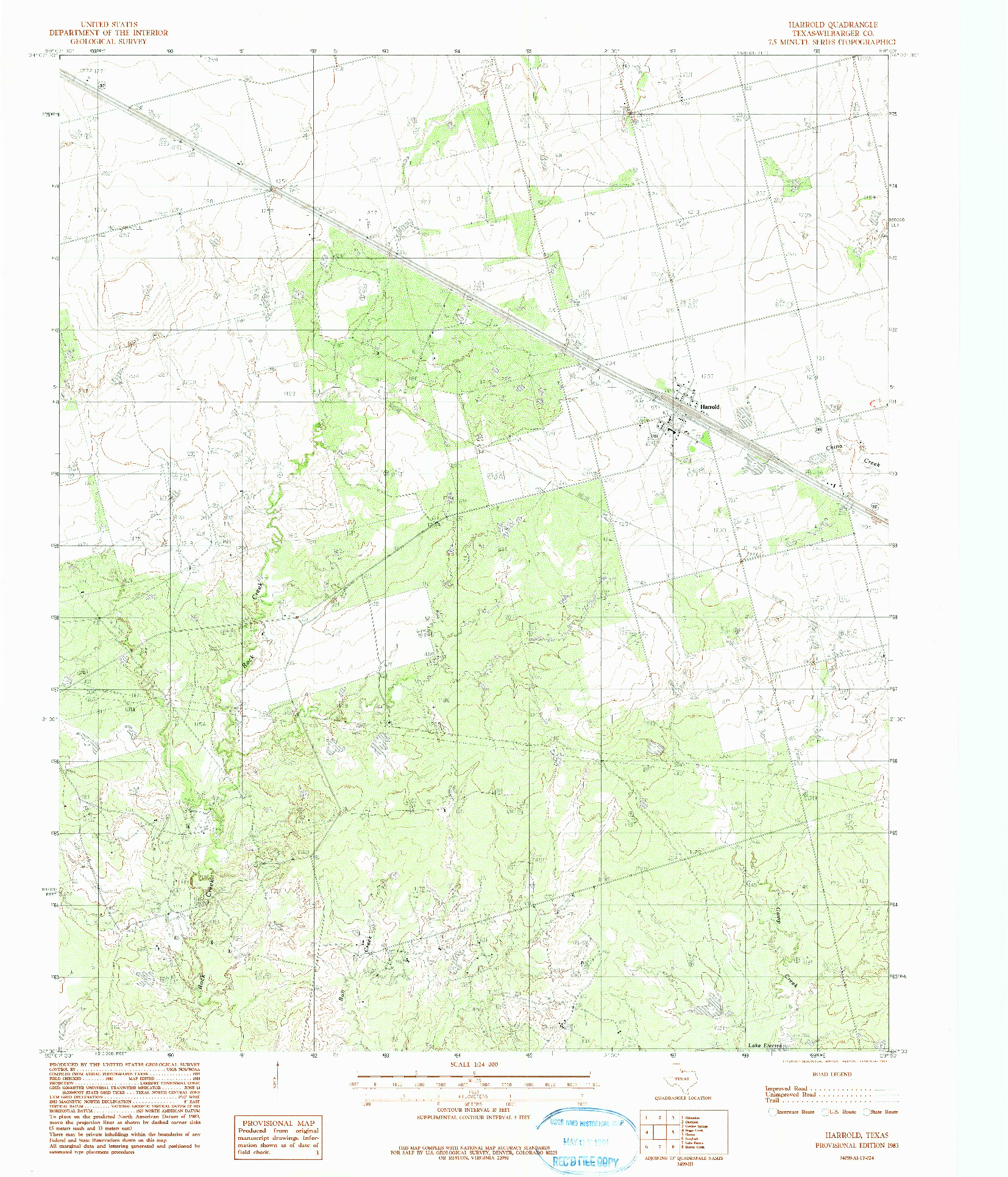 USGS 1:24000-SCALE QUADRANGLE FOR HARROLD, TX 1983