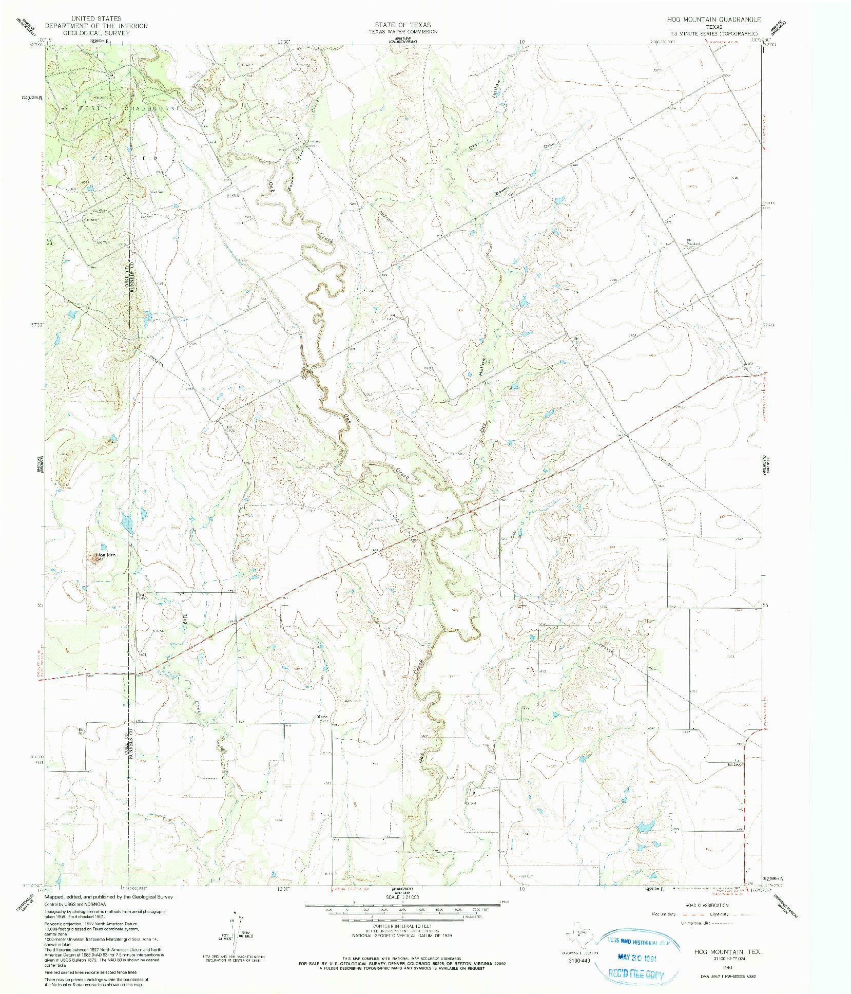 USGS 1:24000-SCALE QUADRANGLE FOR HOG MOUNTAIN, TX 1961