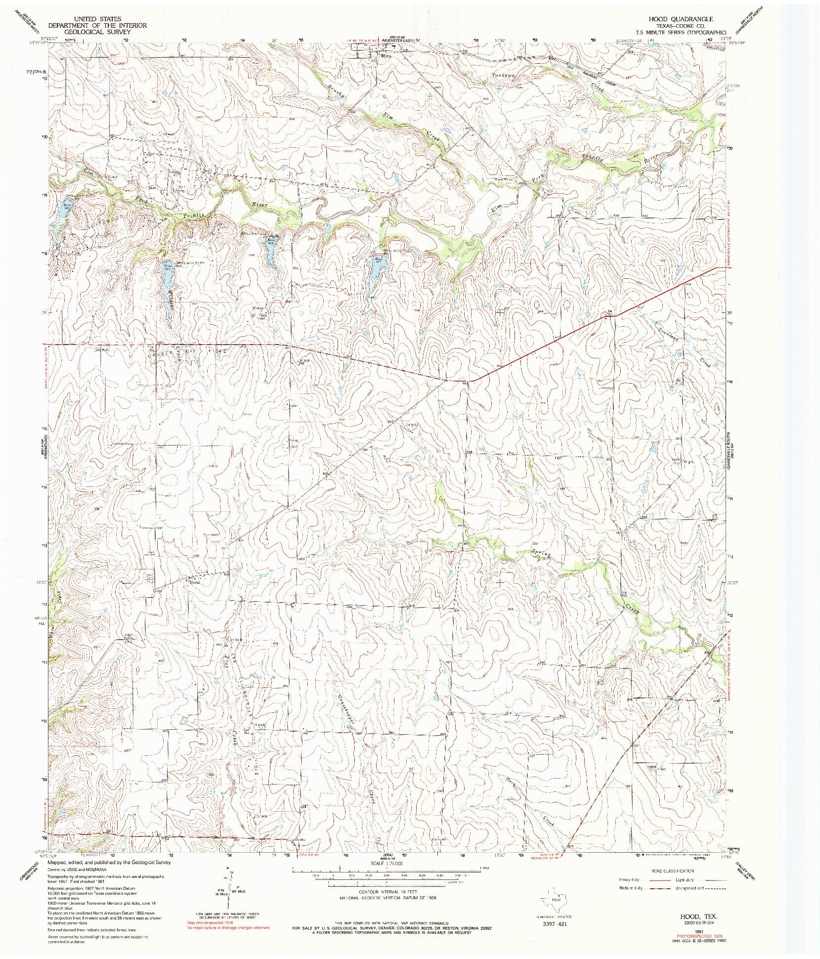 USGS 1:24000-SCALE QUADRANGLE FOR HOOD, TX 1961