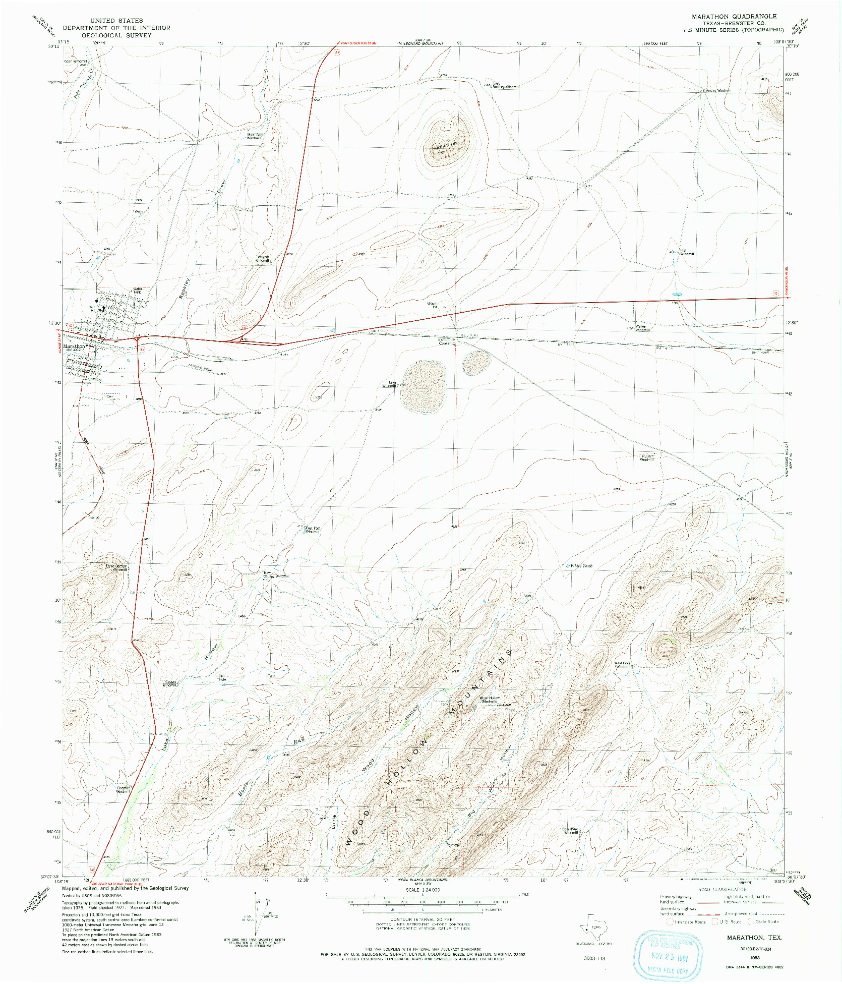 USGS 1:24000-SCALE QUADRANGLE FOR MARATHON, TX 1983
