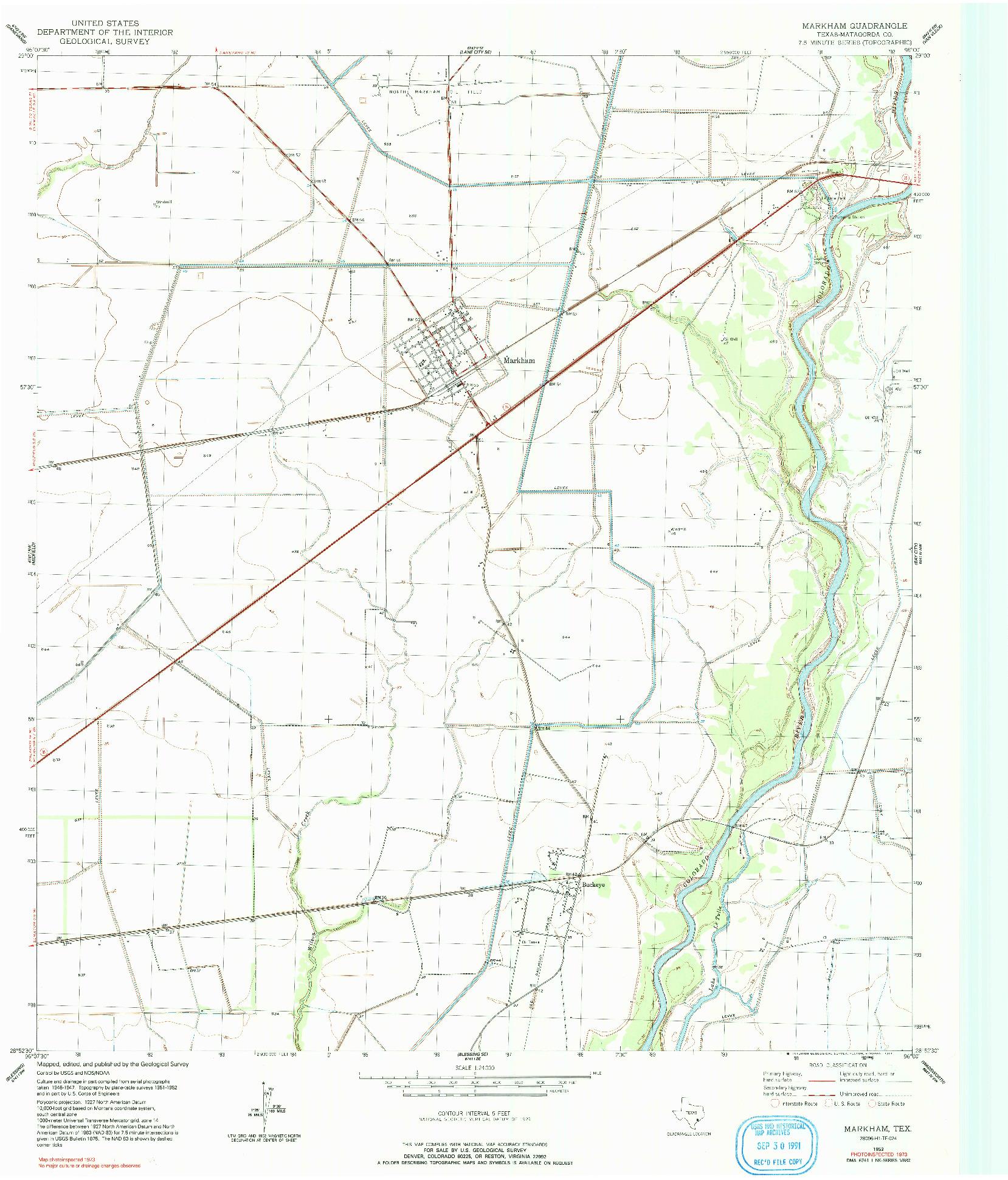 USGS 1:24000-SCALE QUADRANGLE FOR MARKHAM, TX 1952