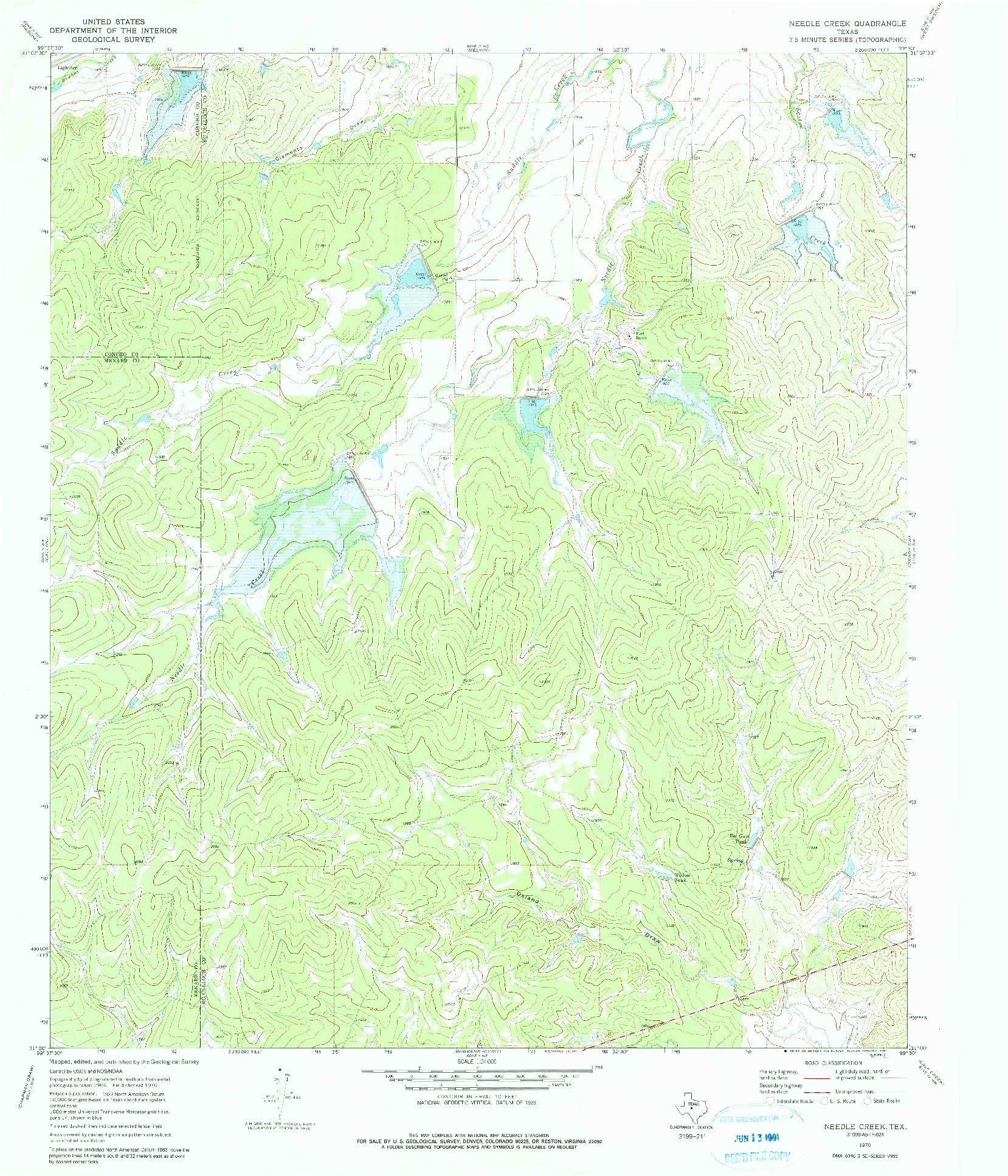 USGS 1:24000-SCALE QUADRANGLE FOR NEEDLE CREEK, TX 1970