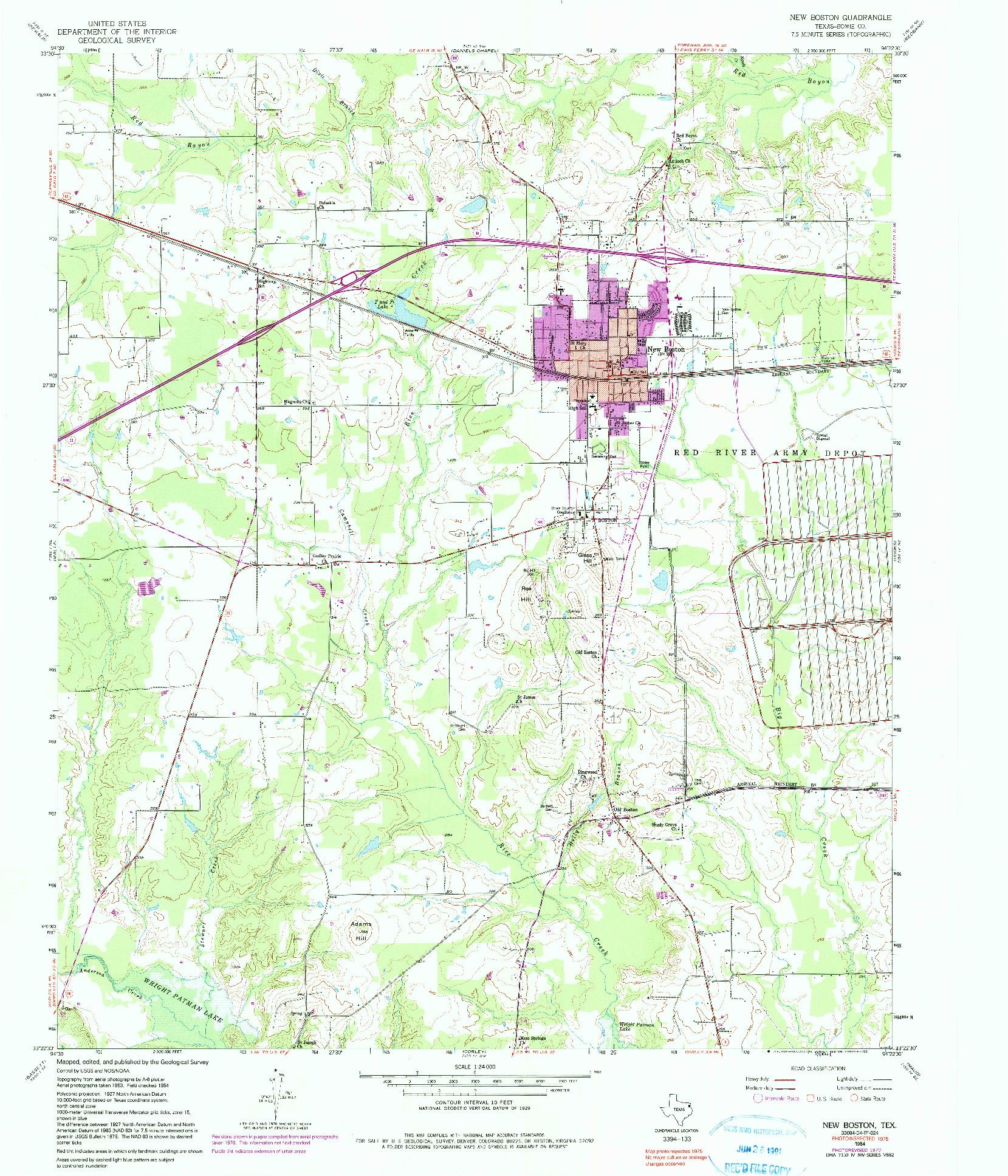 USGS 1:24000-SCALE QUADRANGLE FOR NEW BOSTON, TX 1954