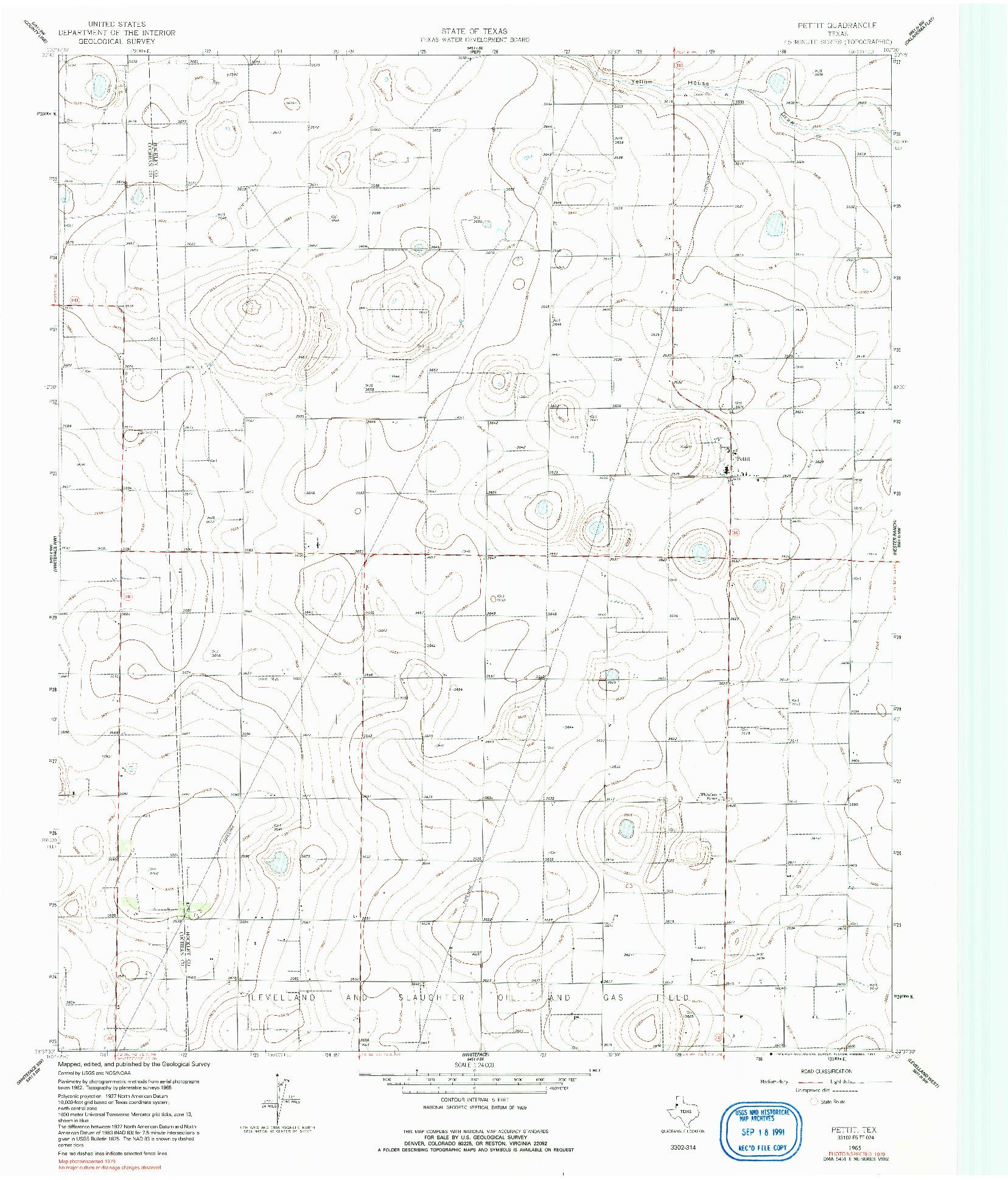 USGS 1:24000-SCALE QUADRANGLE FOR PETTIT, TX 1965