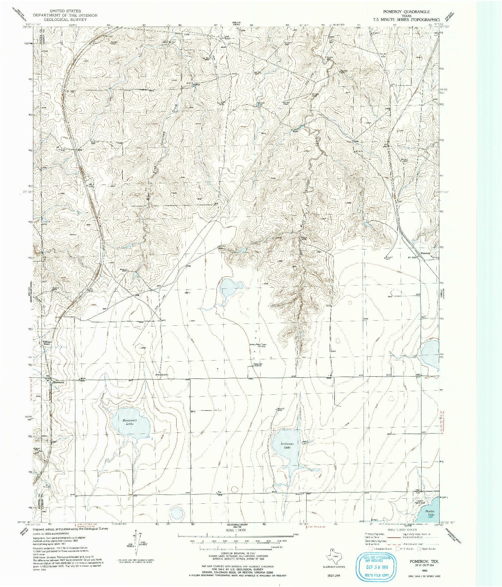 USGS 1:24000-SCALE QUADRANGLE FOR POMEROY, TX 1953