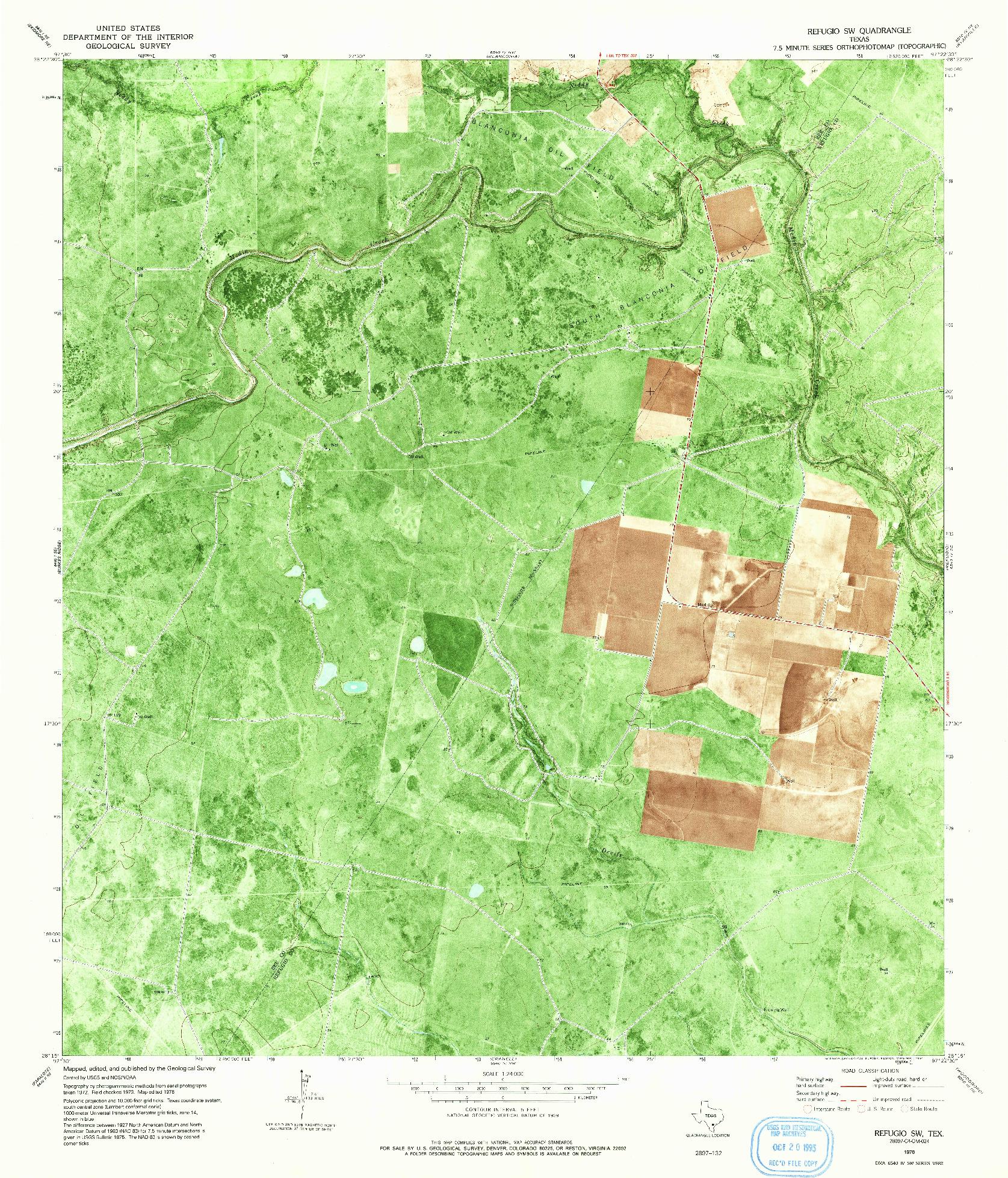 USGS 1:24000-SCALE QUADRANGLE FOR REFUGIO SW, TX 1978