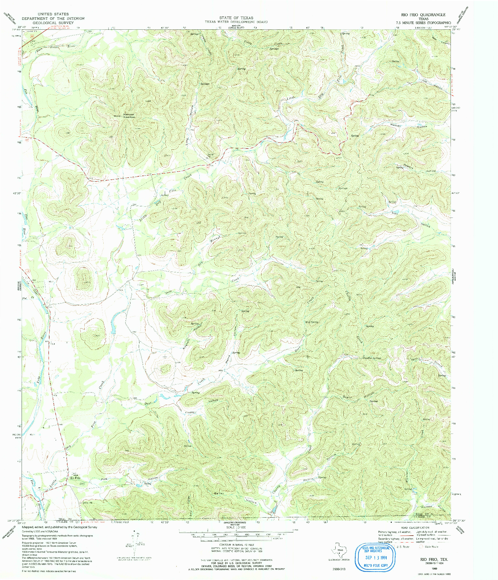 USGS 1:24000-SCALE QUADRANGLE FOR RIO FRIO, TX 1969