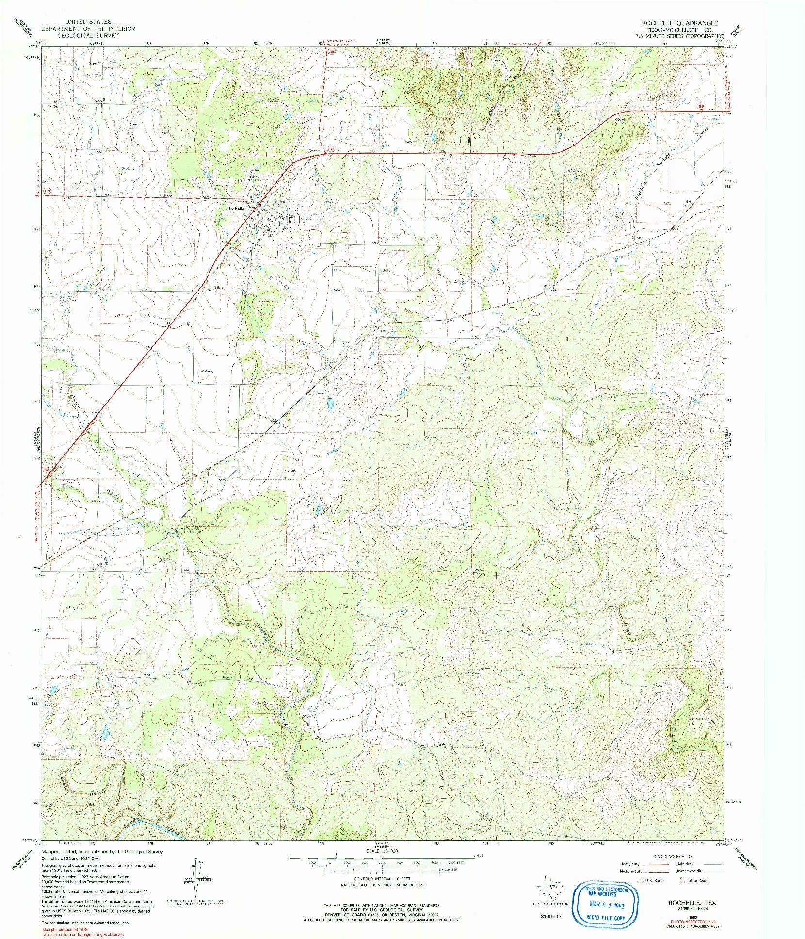 USGS 1:24000-SCALE QUADRANGLE FOR ROCHELLE, TX 1963