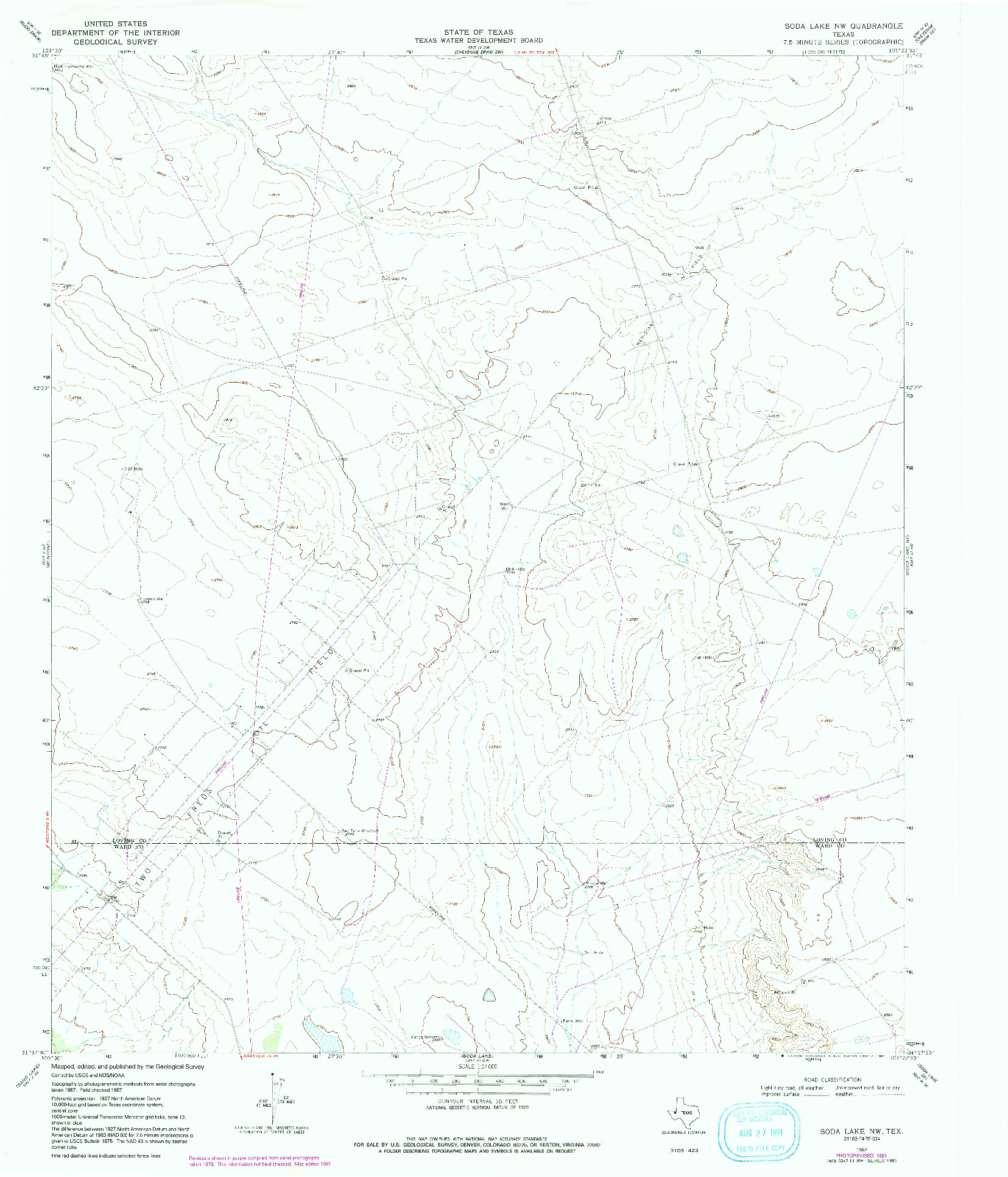 USGS 1:24000-SCALE QUADRANGLE FOR SODA LAKE NW, TX 1967