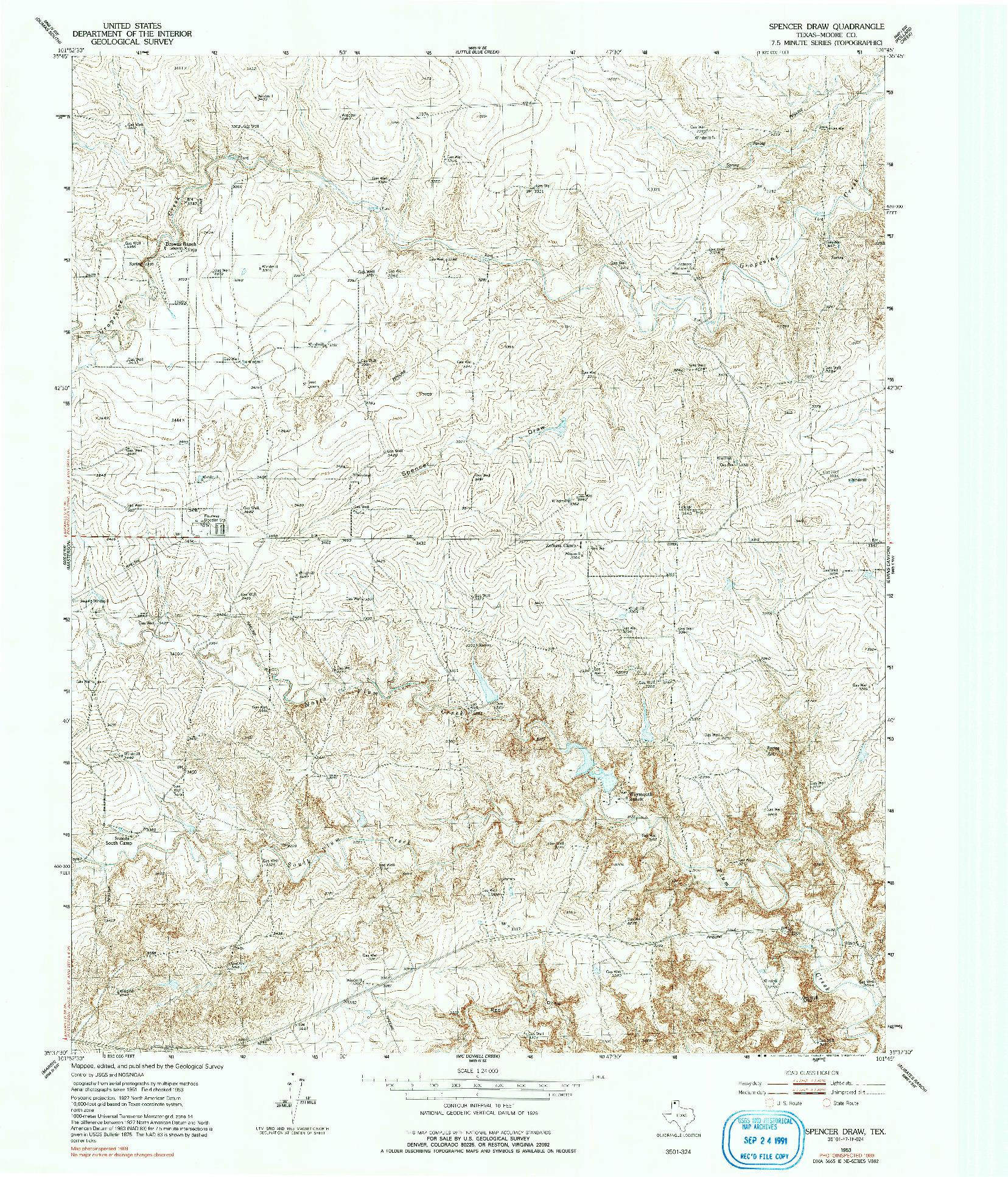 USGS 1:24000-SCALE QUADRANGLE FOR SPENCER DRAW, TX 1953