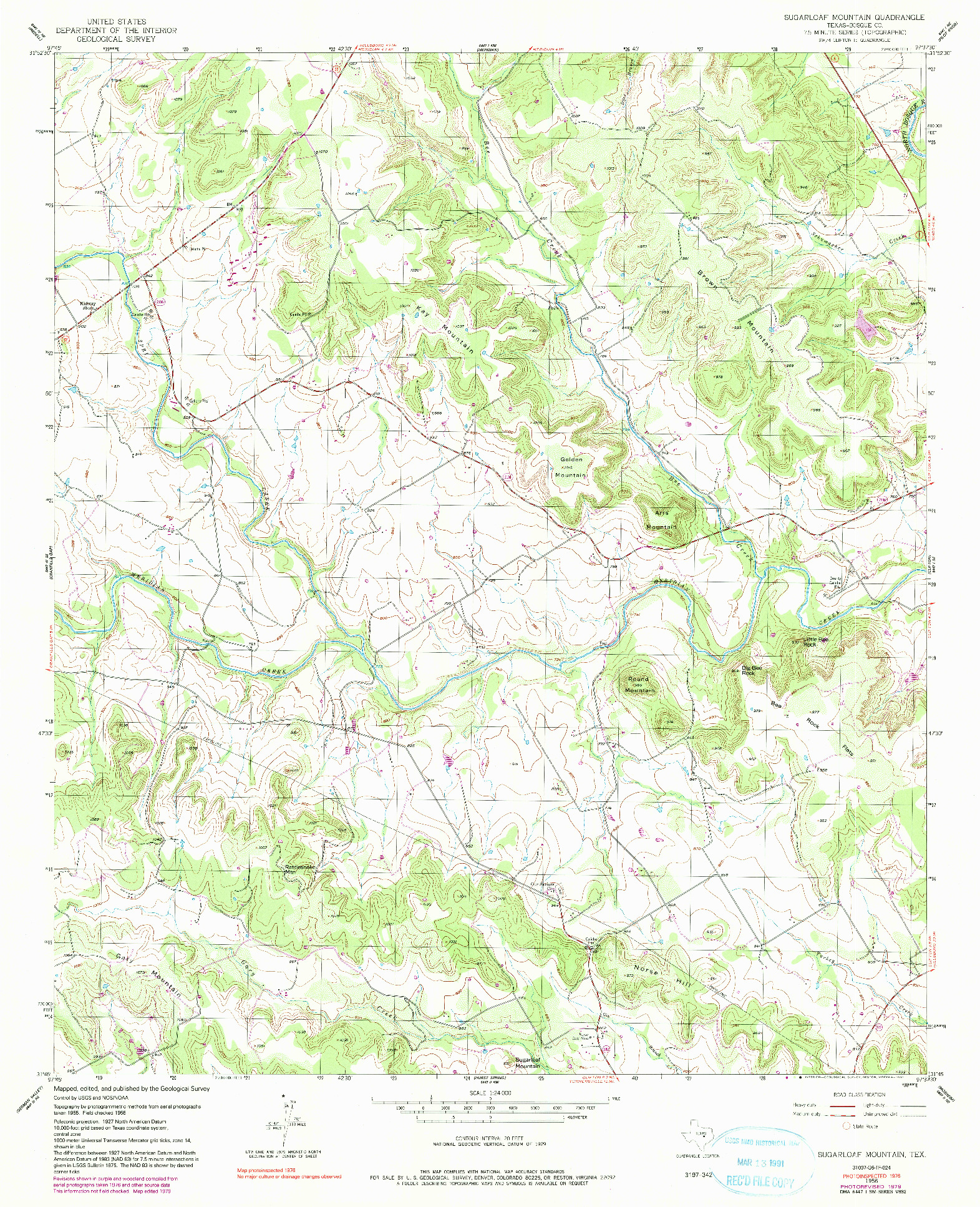 USGS 1:24000-SCALE QUADRANGLE FOR SUGARLOAF MOUNTAIN, TX 1956