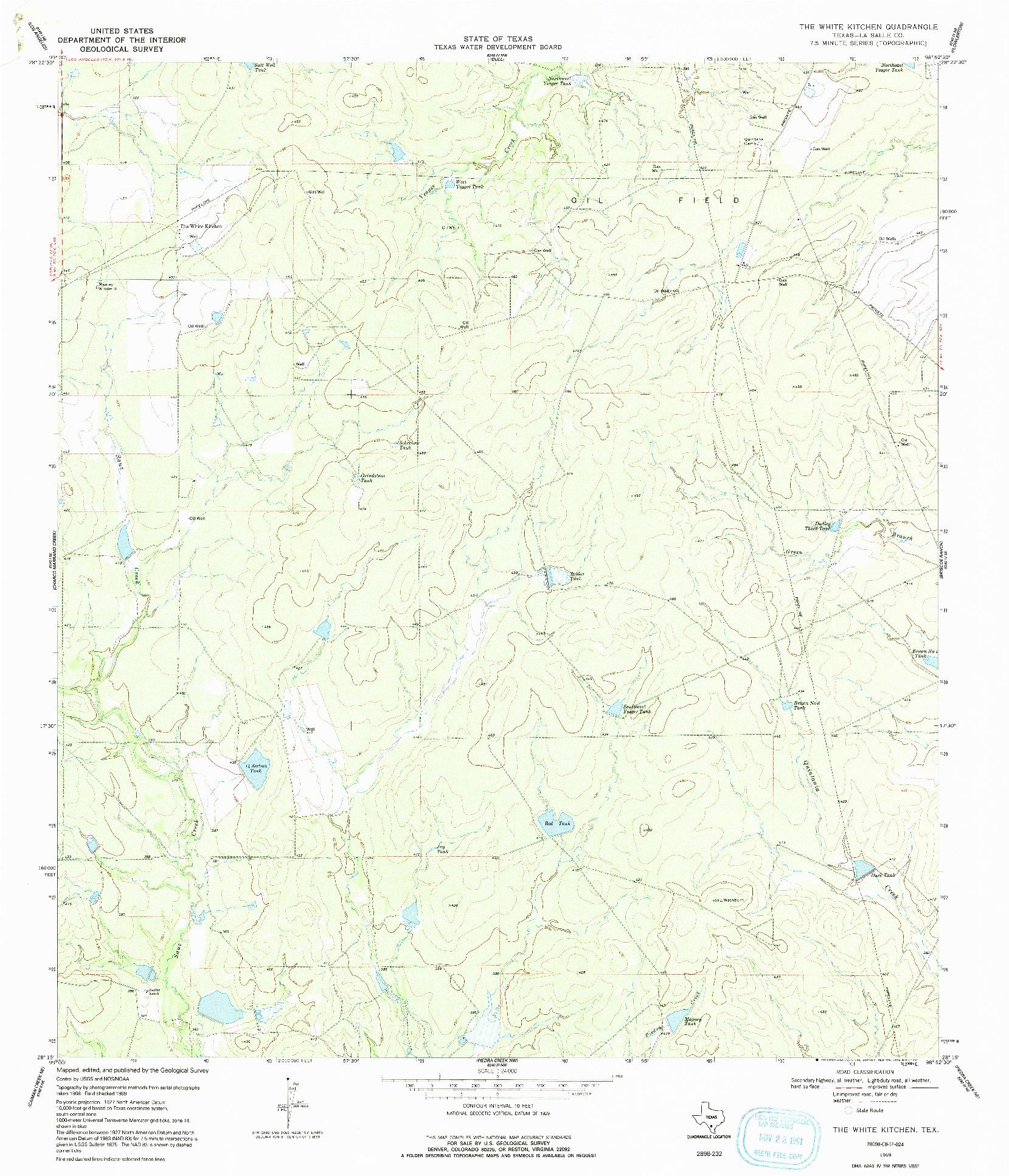 USGS 1:24000-SCALE QUADRANGLE FOR THE WHITE KITCHEN, TX 1969